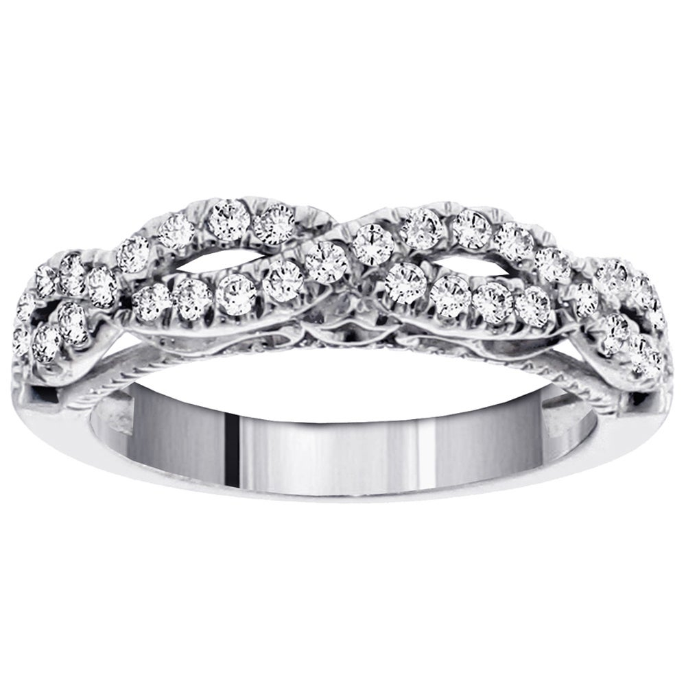 14k White Gold 1/2ct Tdw Diamond Braided Anniversary Wedding Band With Regard To Most Popular Diamond Braid Anniversary Bands In White Gold (View 7 of 25)
