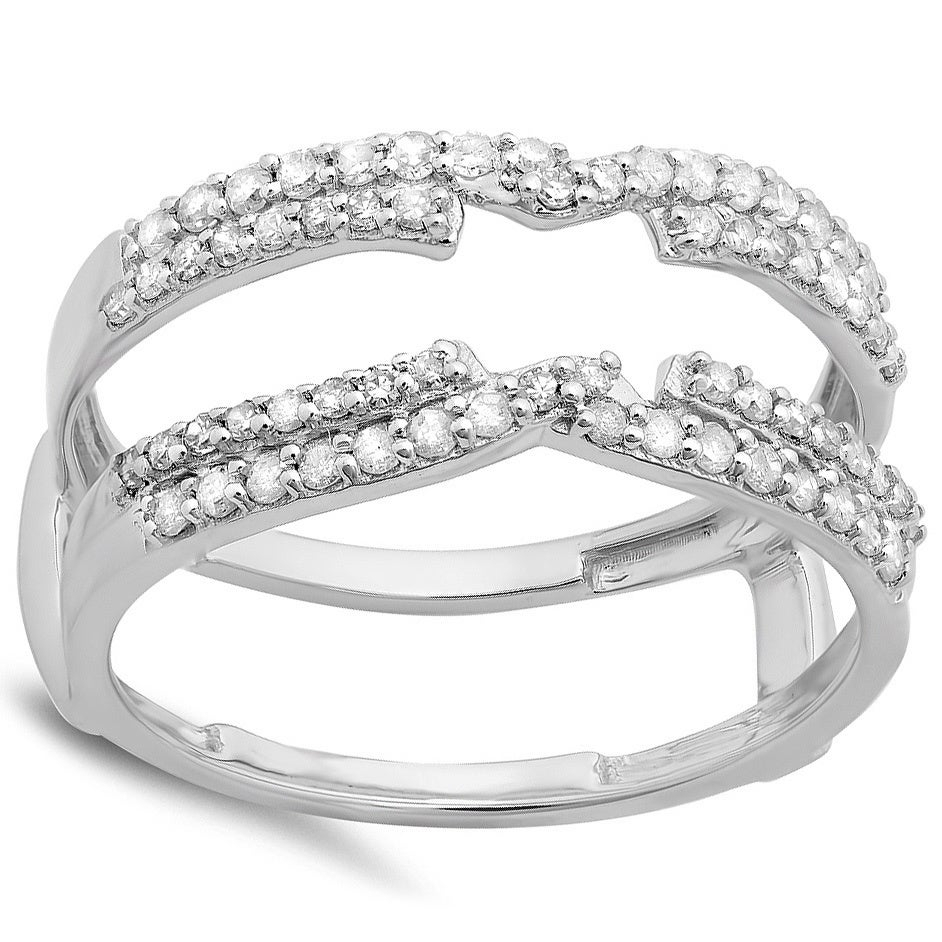 14K White Gold 1/2Ct Tdw Round Diamond Anniversary Band Enhancer Swirl  Double Guard Ring (H I, I1 I2) With Most Recent Diamond Swirl Anniversary Bands In White Gold (View 6 of 25)