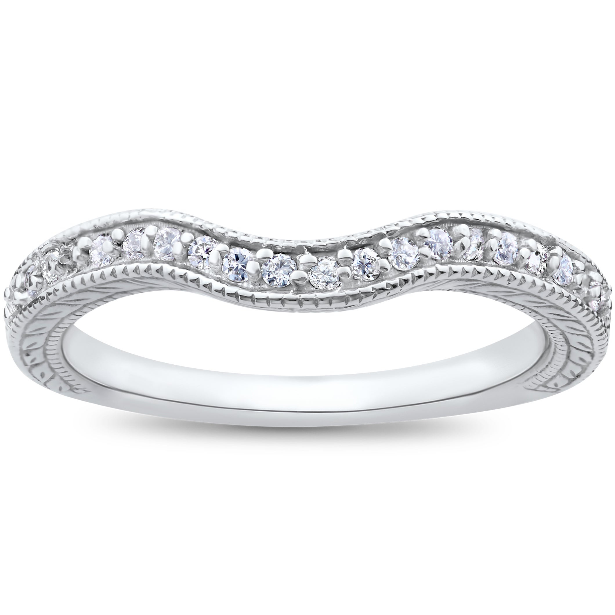 14k White Gold 1/6ct Vintage Curved Diamond Contour Wedding Band For Engagement Ring In Latest Diamond Contour Anniversary Bands In White Gold (View 4 of 25)