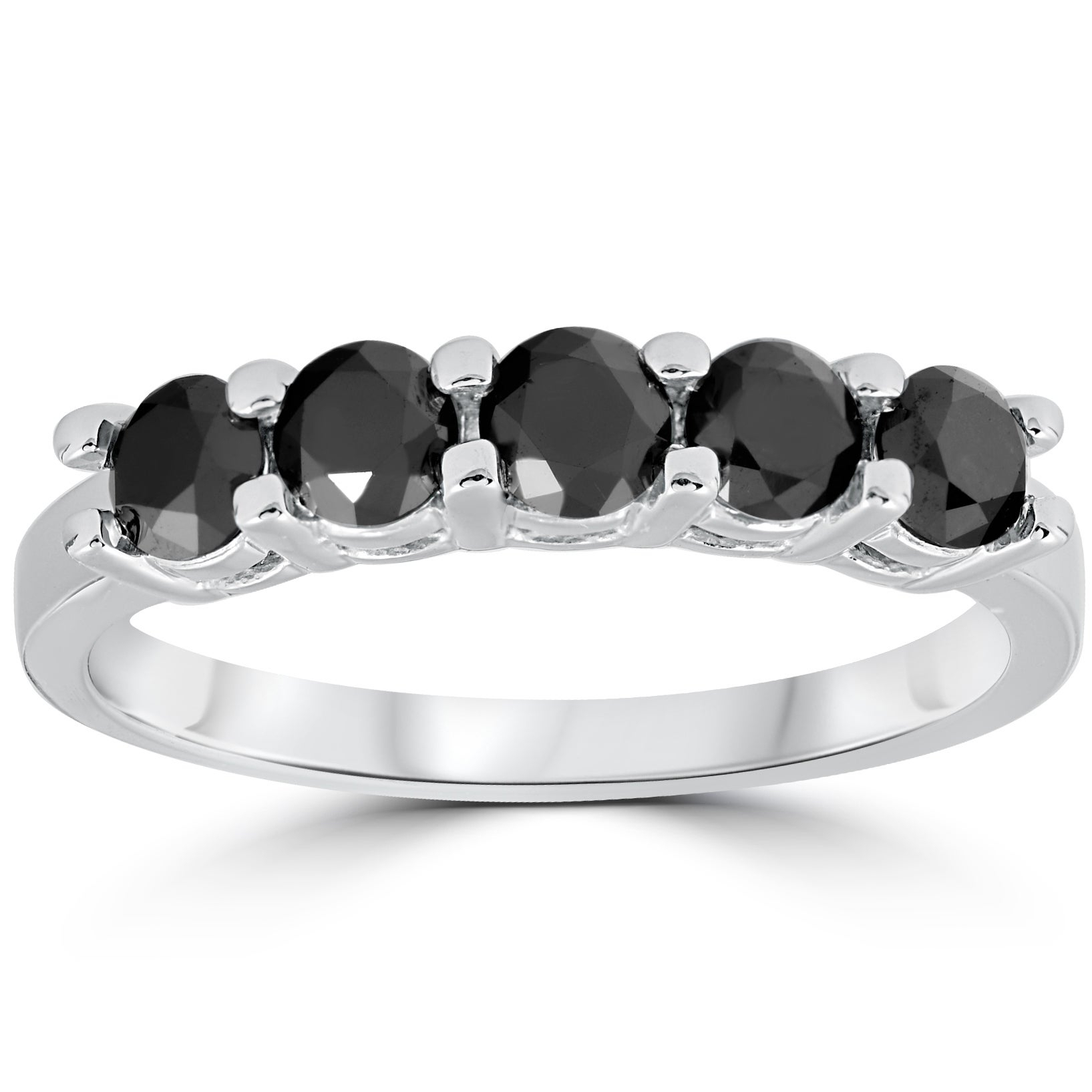 14k White Gold 1 Cttw Five Stone Black Diamond Wedding Anniversary Ring With Most Current Enhanced Black And White Diamond Anniversary Ring In White Gold (View 7 of 25)