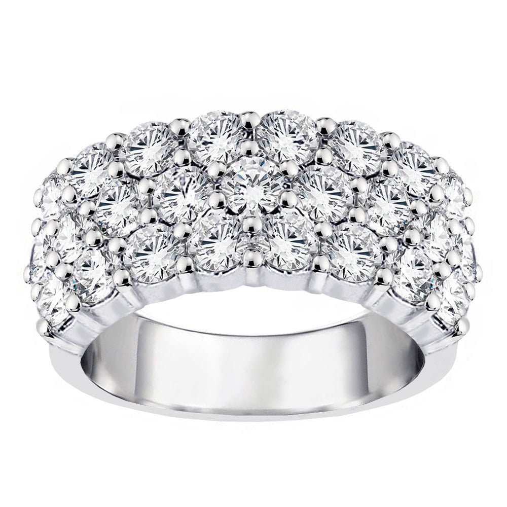 14K White Gold 2Ct Tdw Diamond 3 Row Anniversary Ring (G H, Si1 Si2) For Newest Diamond Three Row Anniversary Rings In White Gold (View 6 of 25)
