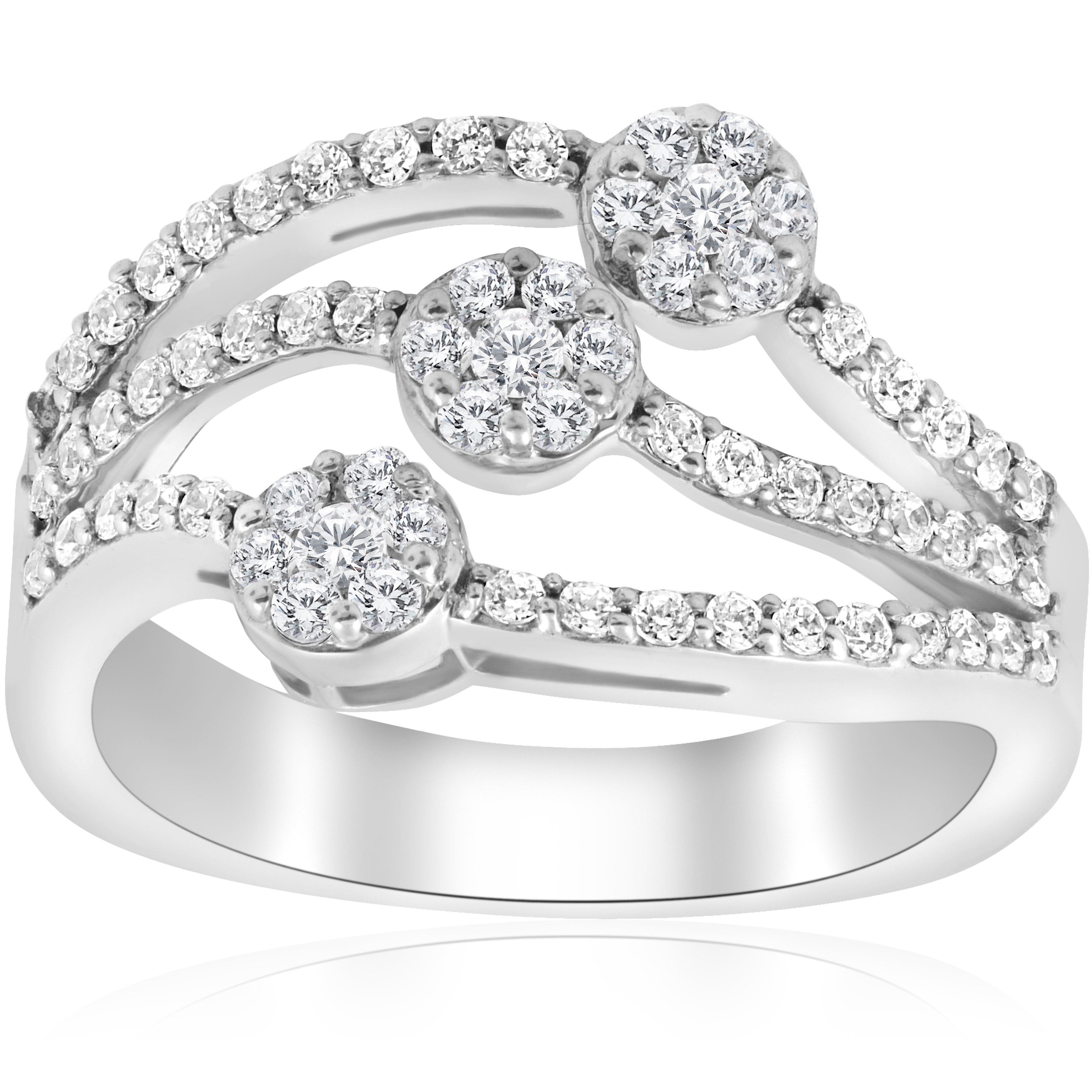 14K White Gold 3/4 Ct Tdw Diamond Multi Row Womens Anniversary Wide Right  Hand Ring Inside Most Current Diamond Multi Row Anniversary Ring In White Gold (View 5 of 25)