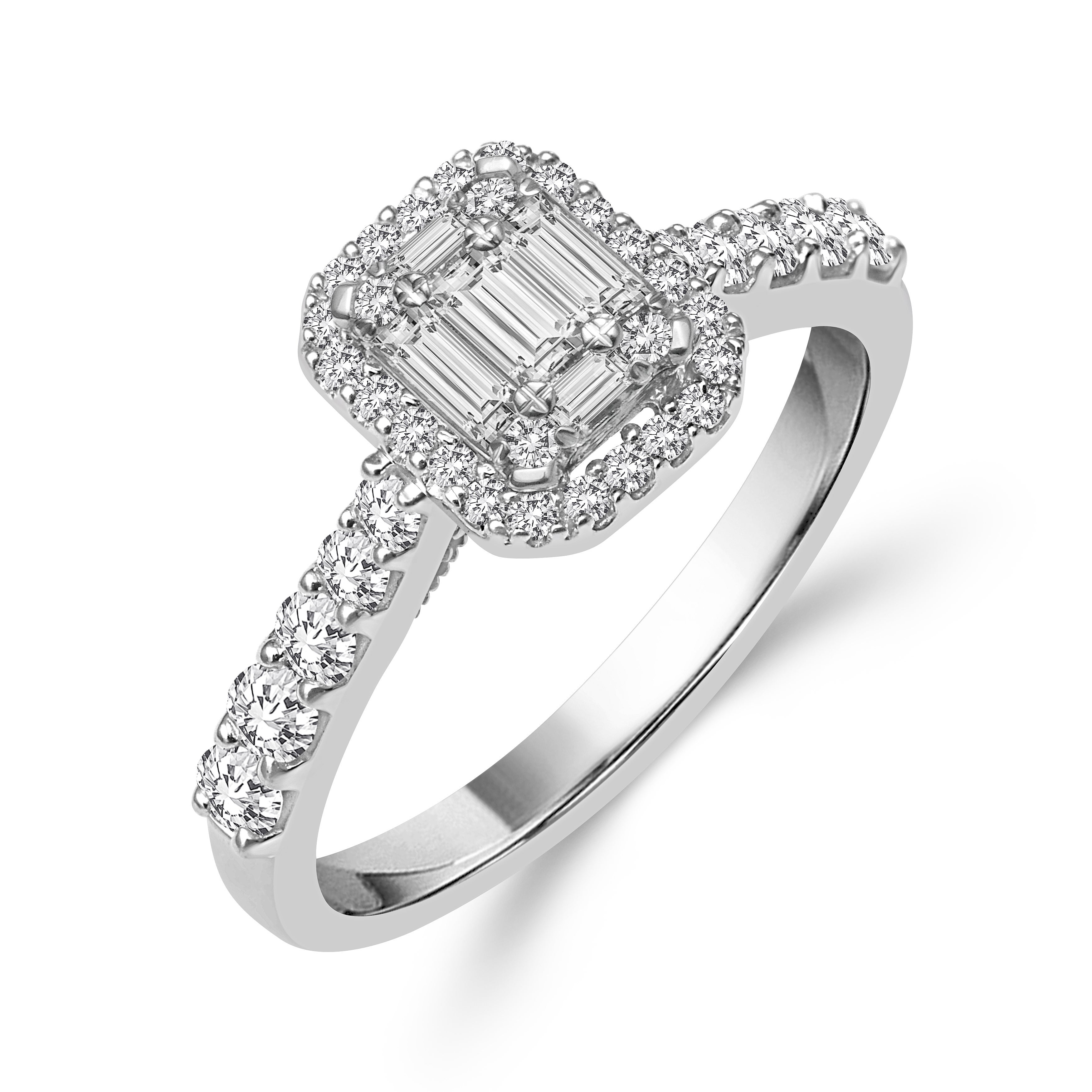 14k White Gold 3/4ct Tdw Emerald Shape Baguette Diamond Ring With Newest Composite Diamond Five Stone Anniversary Bands In White Gold (View 7 of 25)