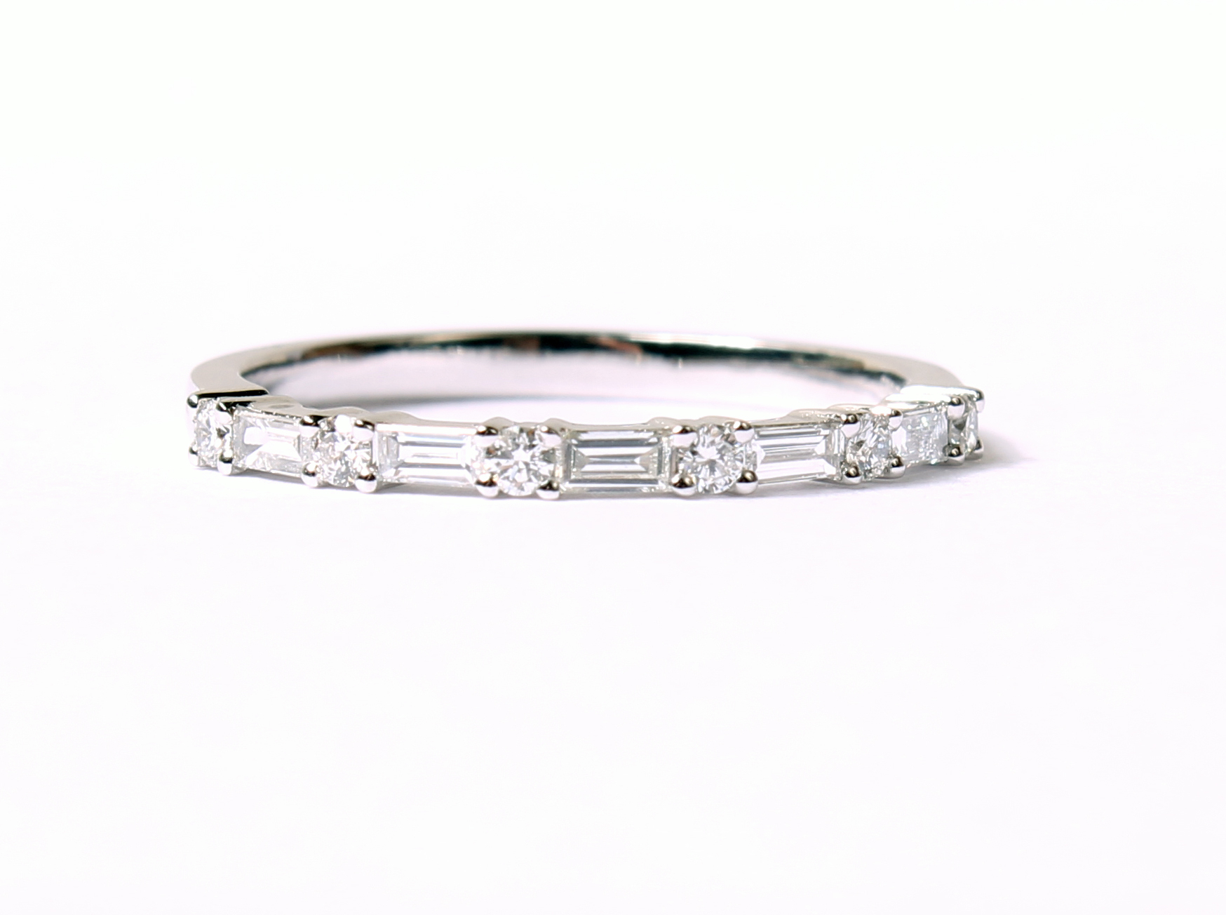 14k White Gold Baguette And Round Diamond Band – 119 10097 Intended For Most Popular Baguette And Round Diamond Alternating Multi Row Anniversary Bands In White Gold (View 15 of 25)