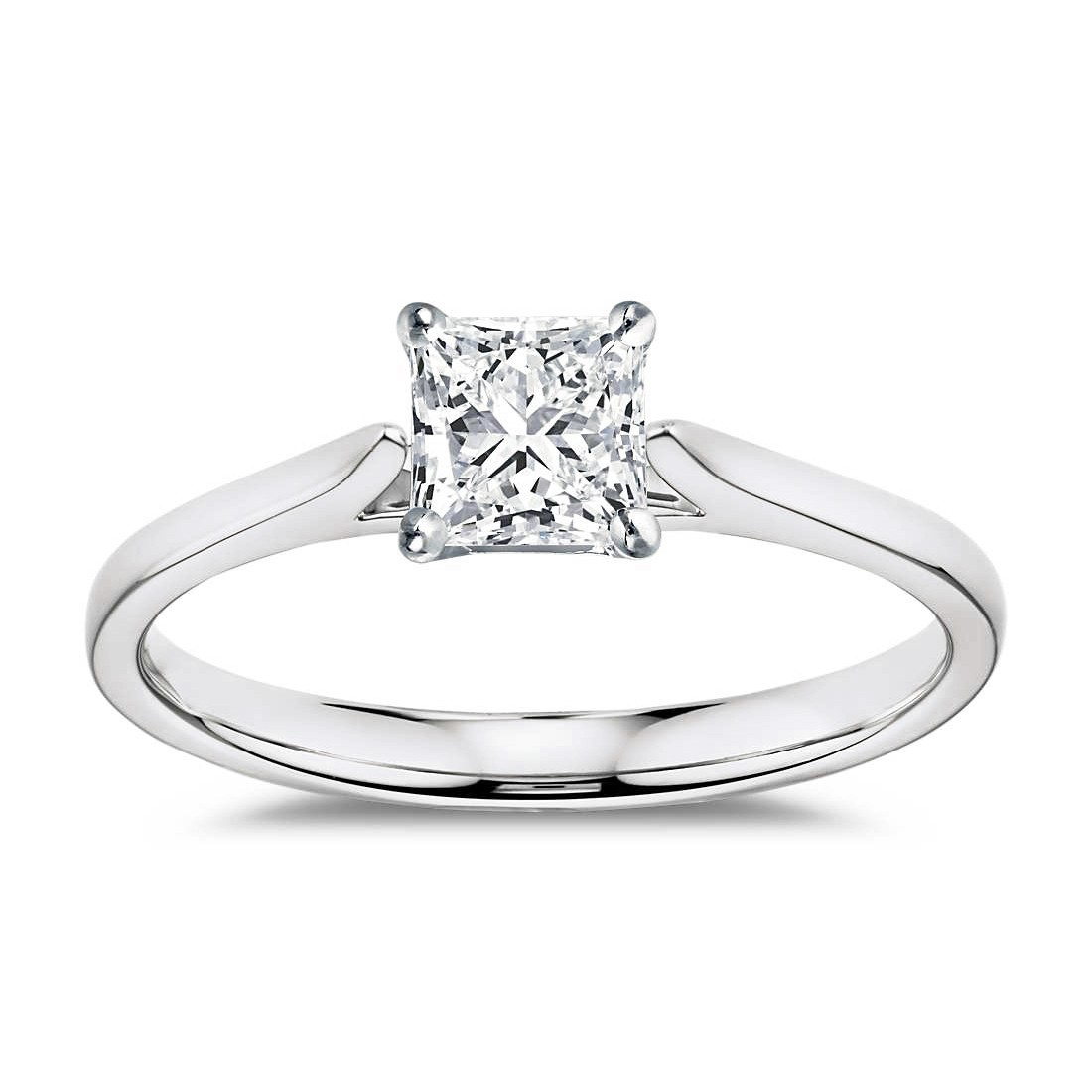 14K White Gold Certified Princess Cut Diamond Solitaire With Regard To Current Certified Diamond Anniversary Bands In White Gold (View 16 of 25)