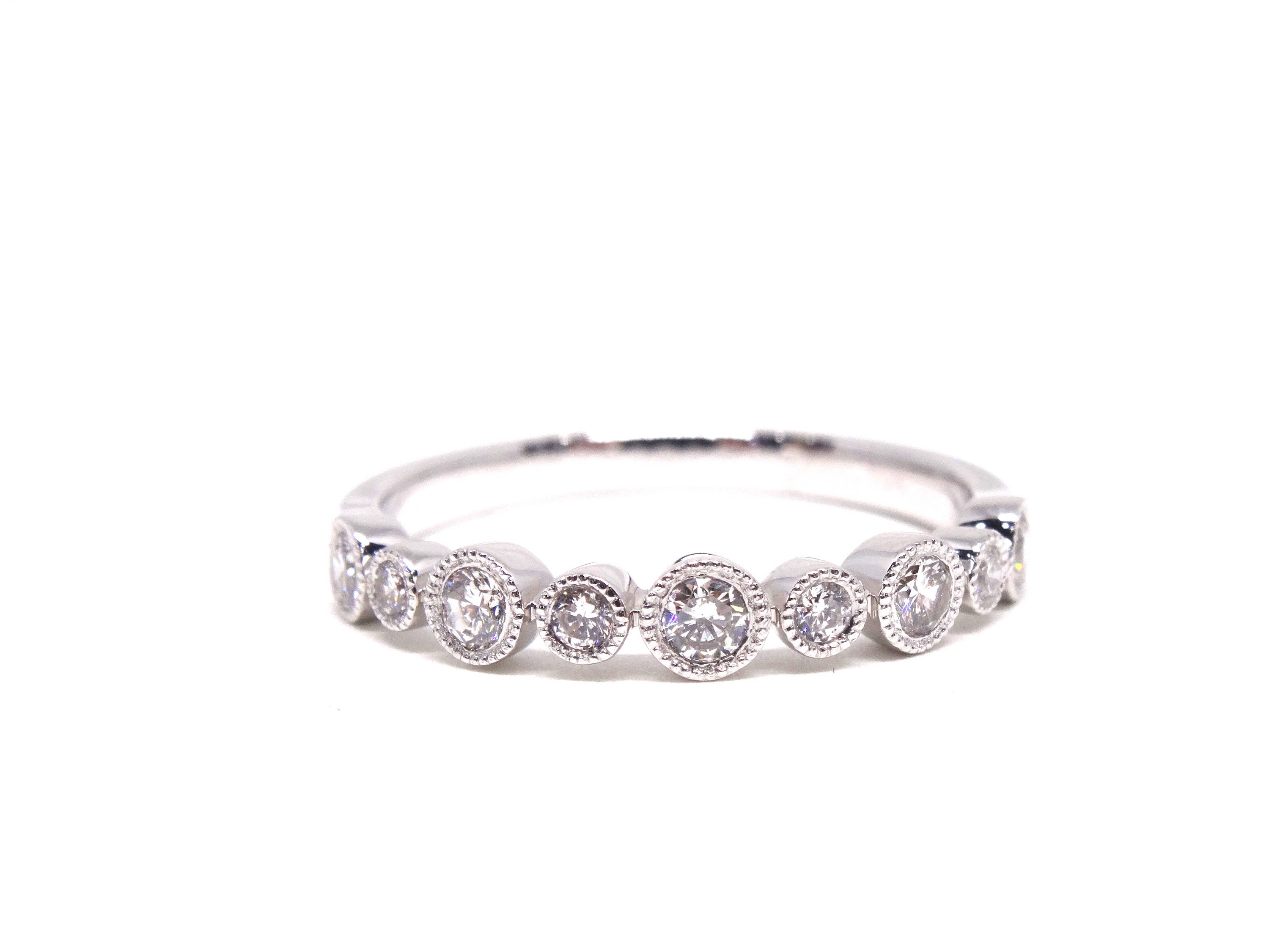 14k White Gold Diamond Antique Style Art Deco Bezel Set 3/4 In 2019 Diamond Vintage Style Anniversary Bands In Gold (View 7 of 25)
