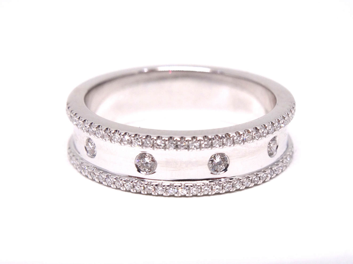 14K White Gold Diamond Antique Style Art Deco Bezel Set Pertaining To Latest Diamond Eternity Anniversary Vintage Style Bands In White Gold (View 3 of 25)