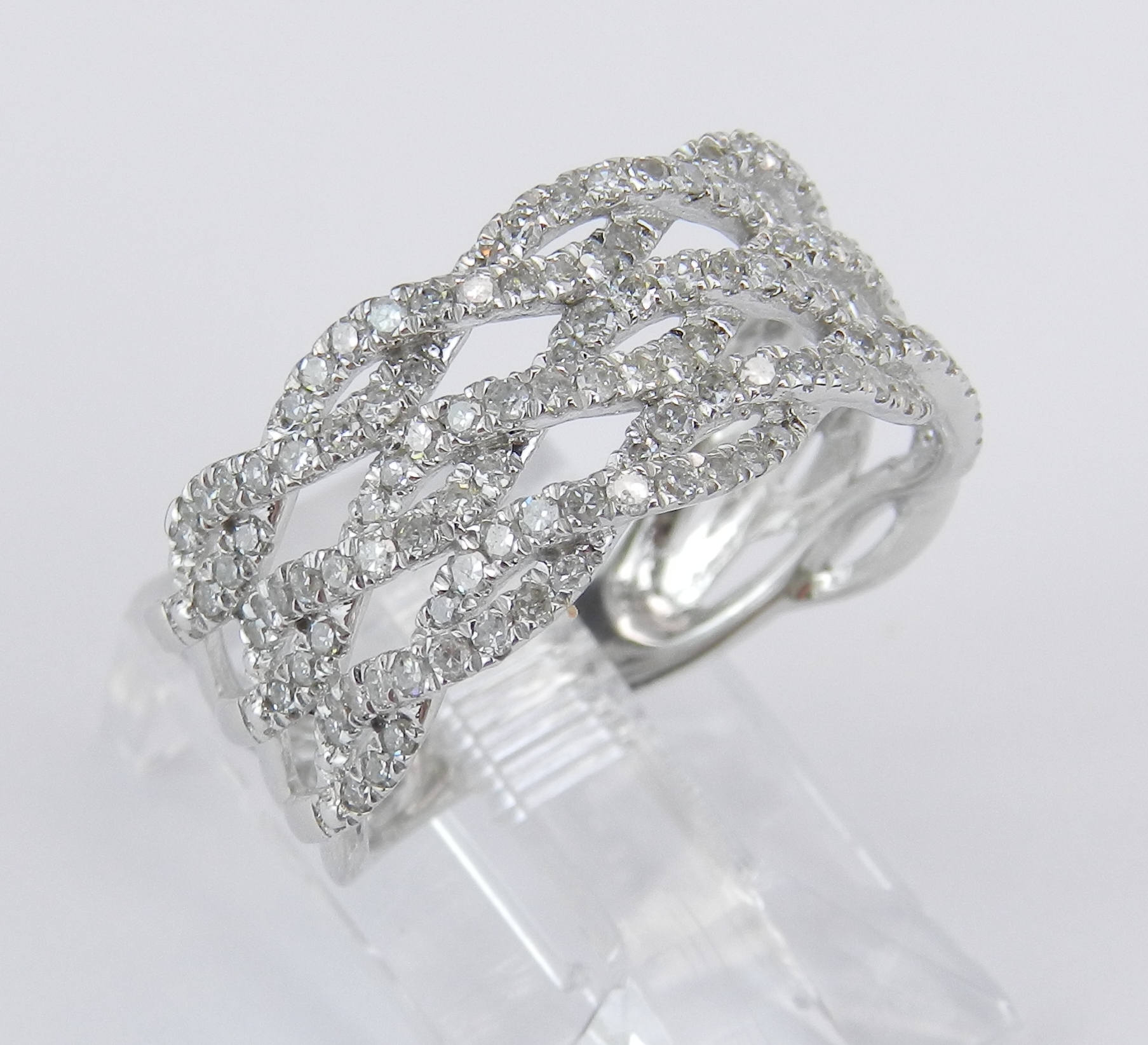 14K White Gold Diamond Crossover Wedding Ring Multi Row Throughout Latest Diamond Five Row Anniversary Rings In White Gold (View 8 of 25)