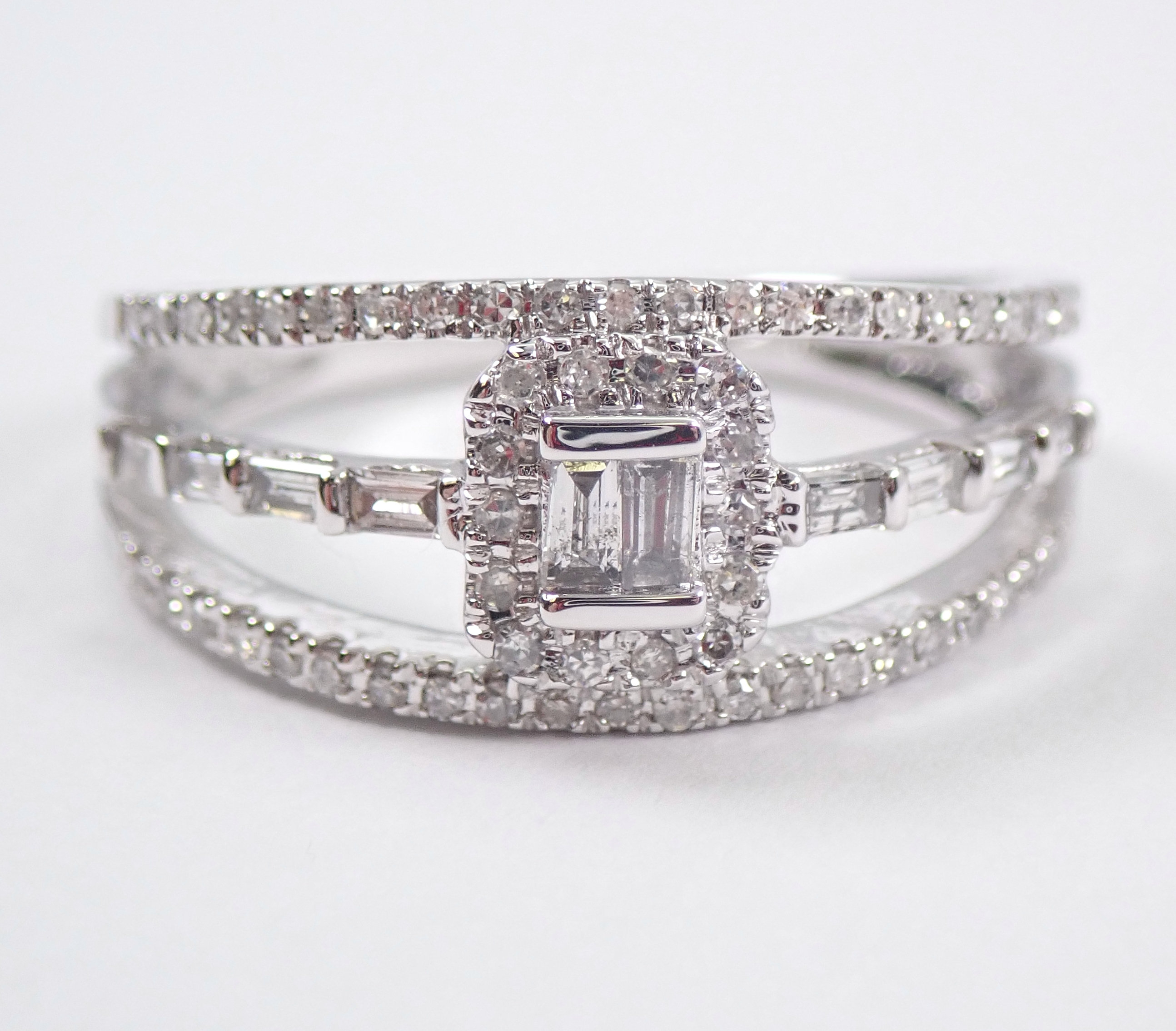 14k White Gold Diamond Engagement Ring Multi Row Anniversary Band Size 7 Regarding Newest Diamond Seven Row Anniversary Rings In White Gold (View 12 of 25)