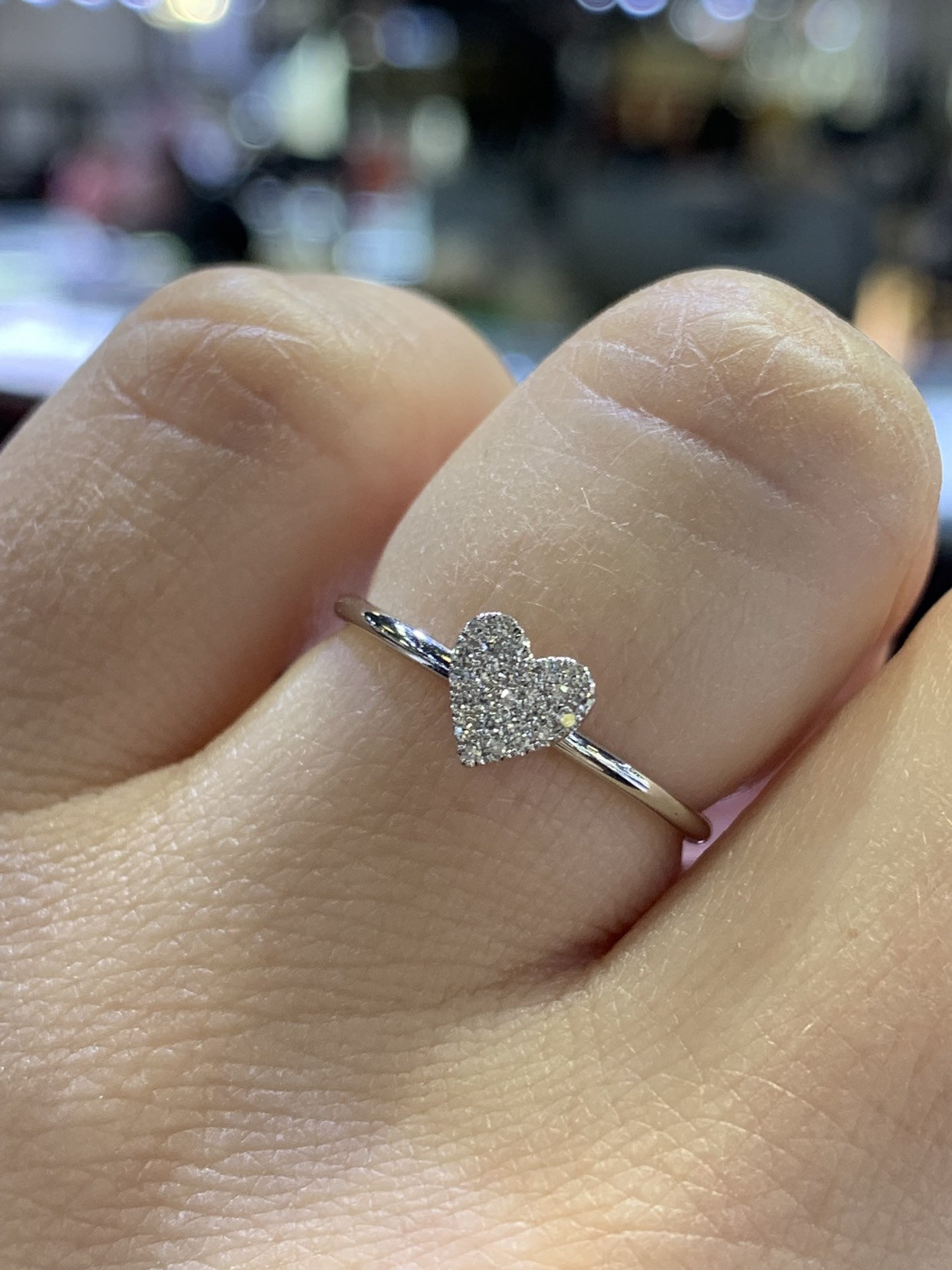 14K White Gold Diamond Heart Shape Ring Wedding Ring With Regard To Latest Diamond Heart Shaped Anniversary Bands In Gold (View 4 of 25)