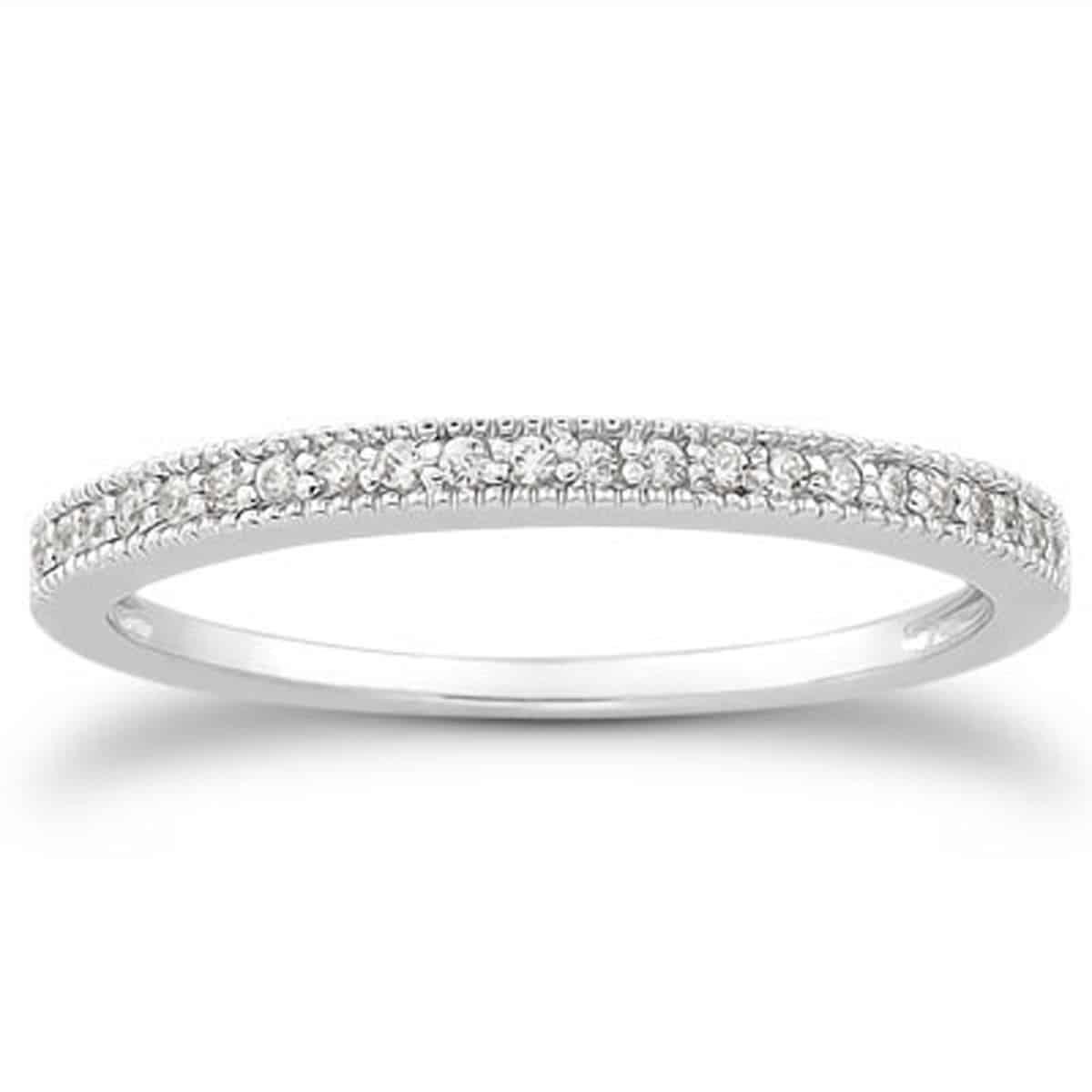 14k White Gold Diamond Micro Pave Diamond Milgrain Wedding Ring Band | Diamond Designs | Orange, Ct Jewelry Store Within Recent Diamond And Milgrain Anniversary Bands In White Gold (View 11 of 25)