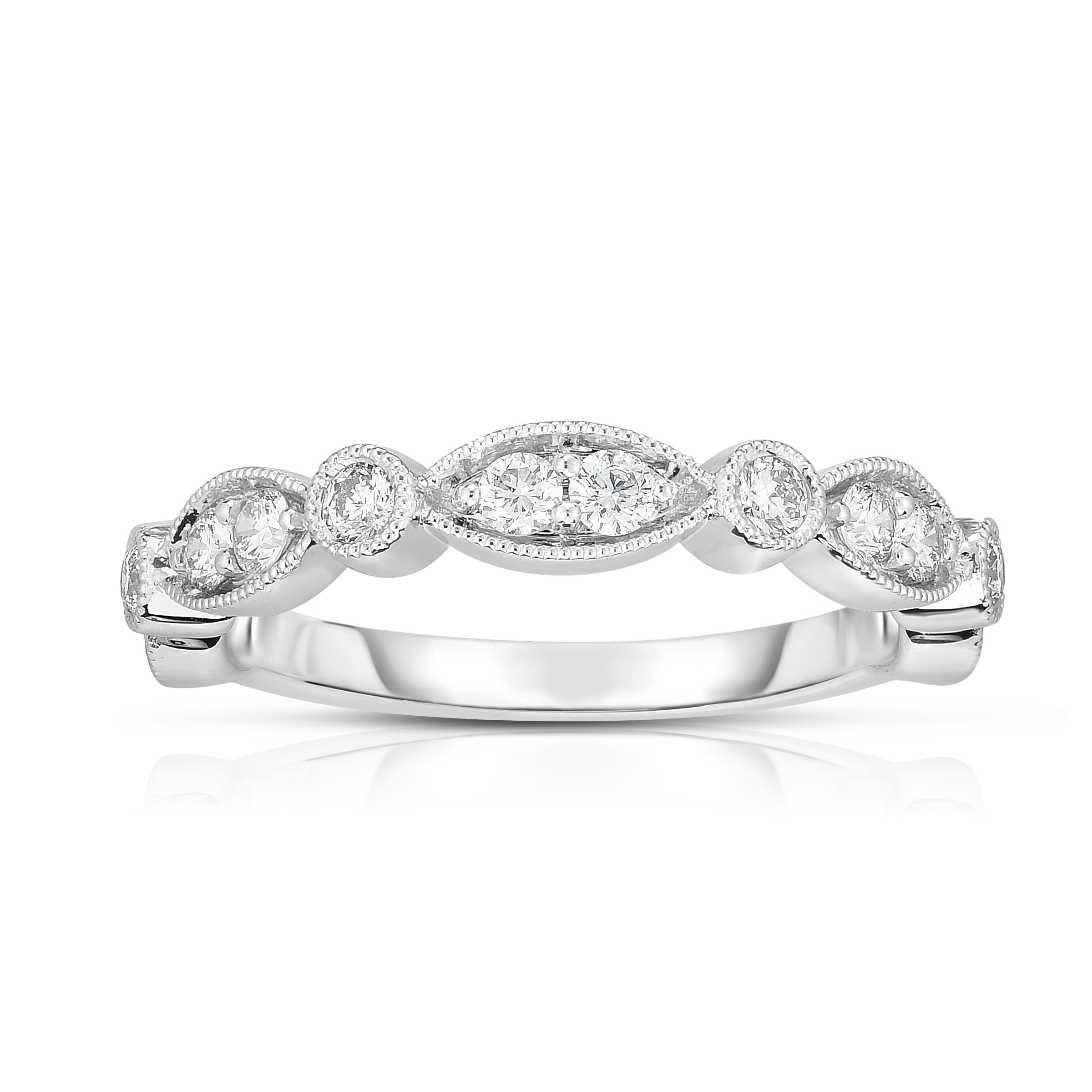 14K White Gold Diamond Stackable Band With Marquis And Round Throughout Recent Baguette And Round Diamond Alternating Multi Row Anniversary Bands In White Gold (View 3 of 25)