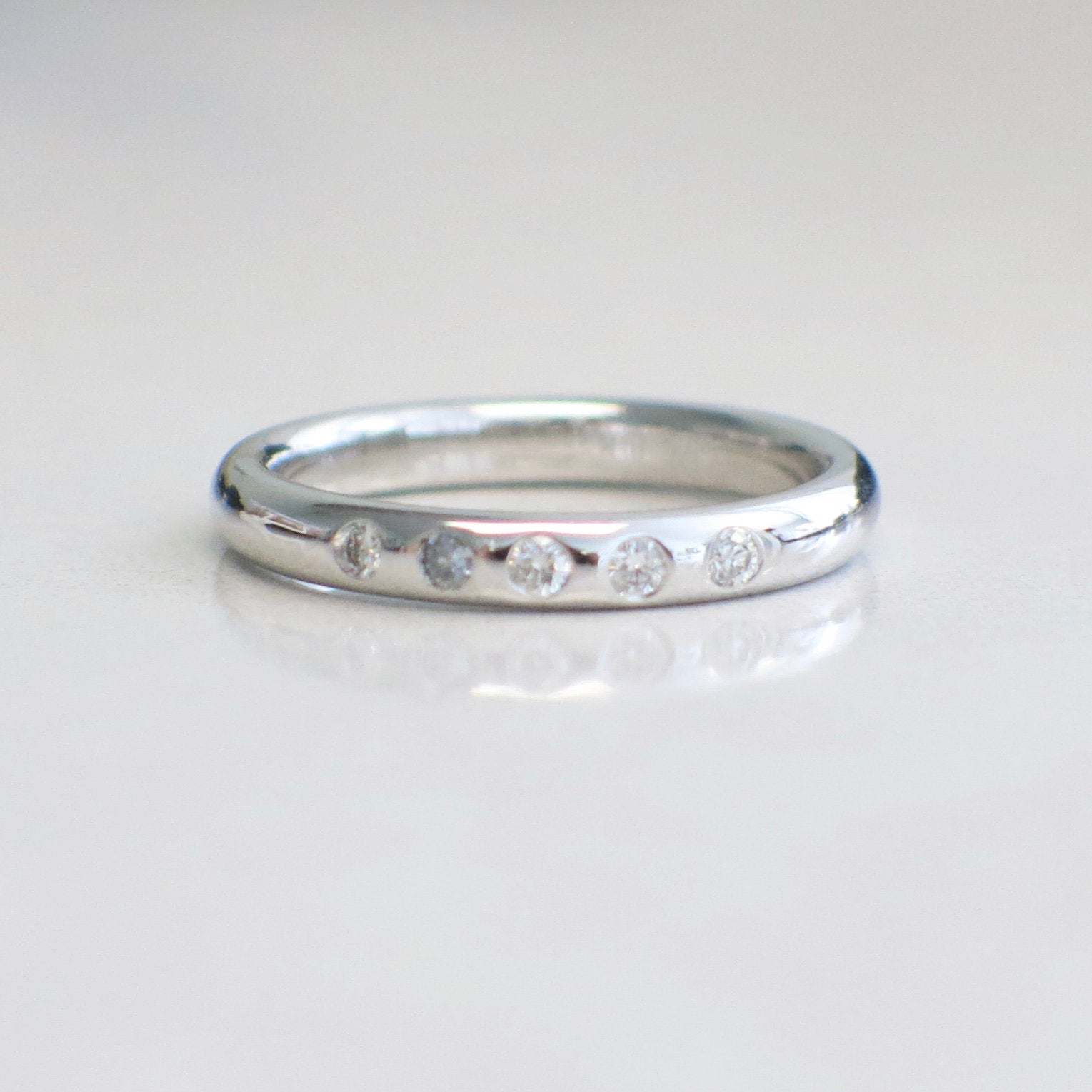 "14k White Gold Five Stone Flush Diamond Ring Wedding Band With Regard To Most Up To Date Diamond Accent Five Stone ""s"" Anniversary Bands In White Gold (View 9 of 25)"