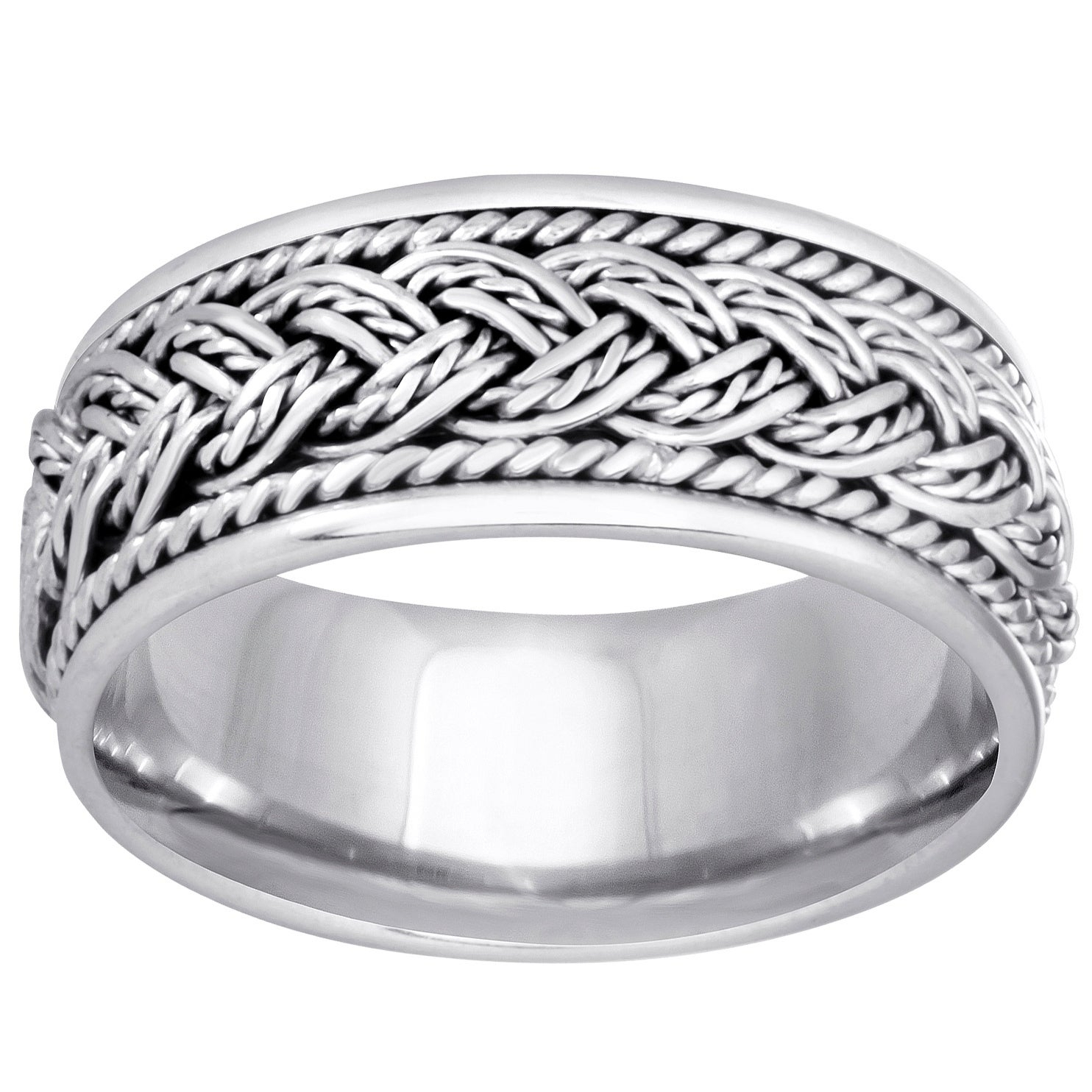 14k White Gold Handmade Braided Comfort Fit Women's Wedding Bands With Regard To Best And Newest Diamond Braid Anniversary Bands In White Gold (View 17 of 25)