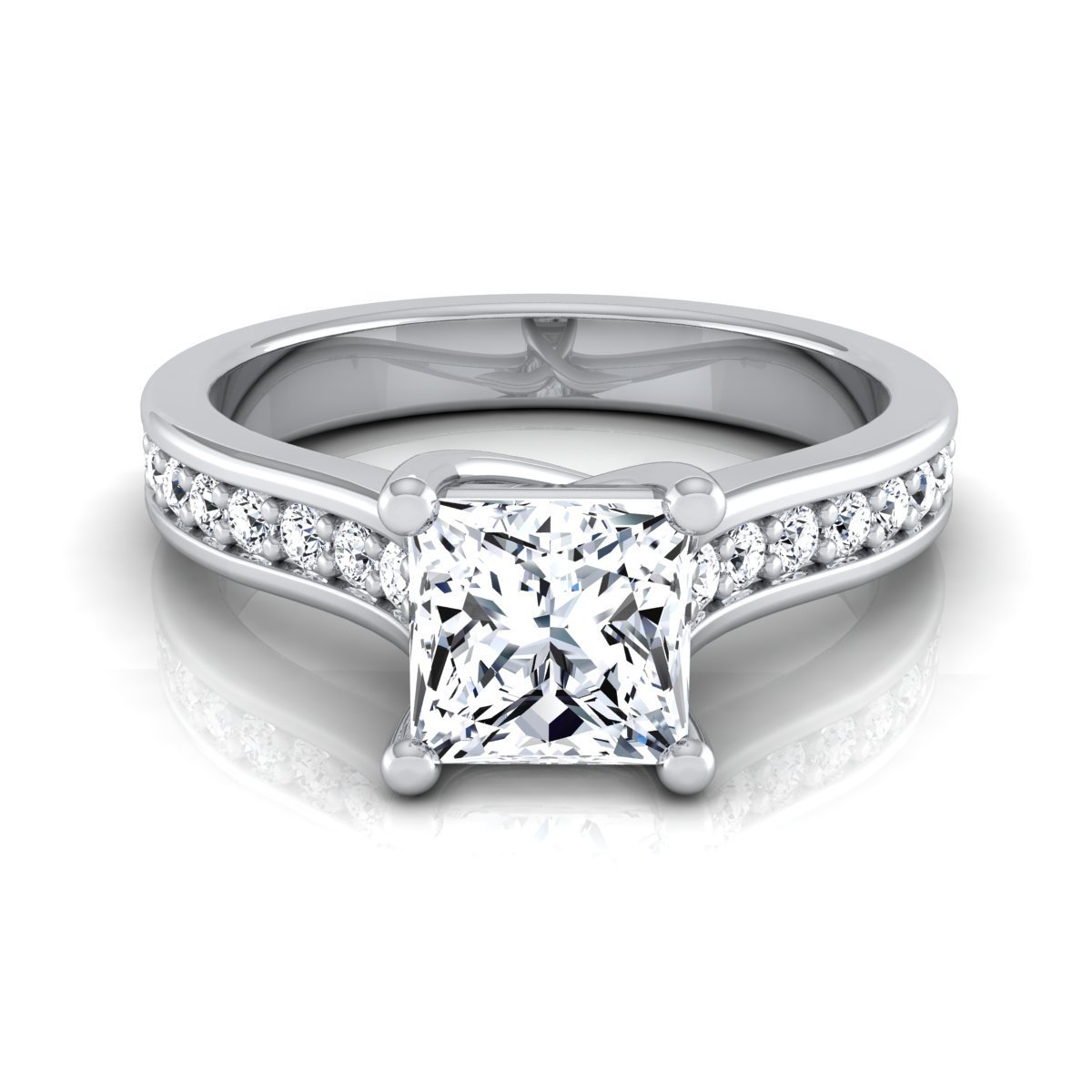14K White Gold Igi Certified 1 1/3Ct Tdw Princess Cut Diamond Solitaire  Engagement Ring With Regard To Most Recent Certified Princess Cut Diamond Anniversary Bands In White Gold (View 3 of 25)