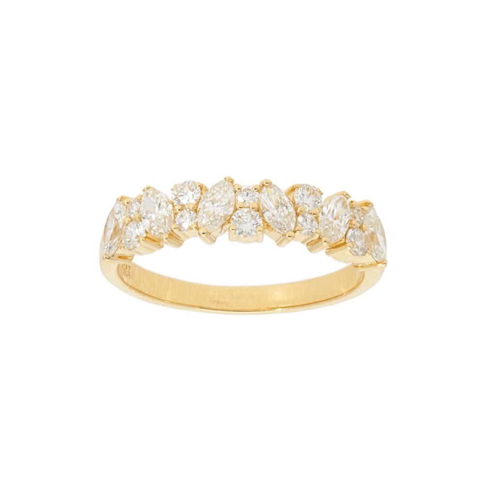 14k White Gold Leaf Bezel Alternating Diamond Band ( (View 14 of 25)