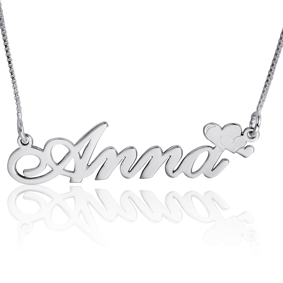 14k White Gold Name Necklace, Script Heart Name Plate With Regard To Newest Heart Locket Plate Necklaces (View 17 of 25)