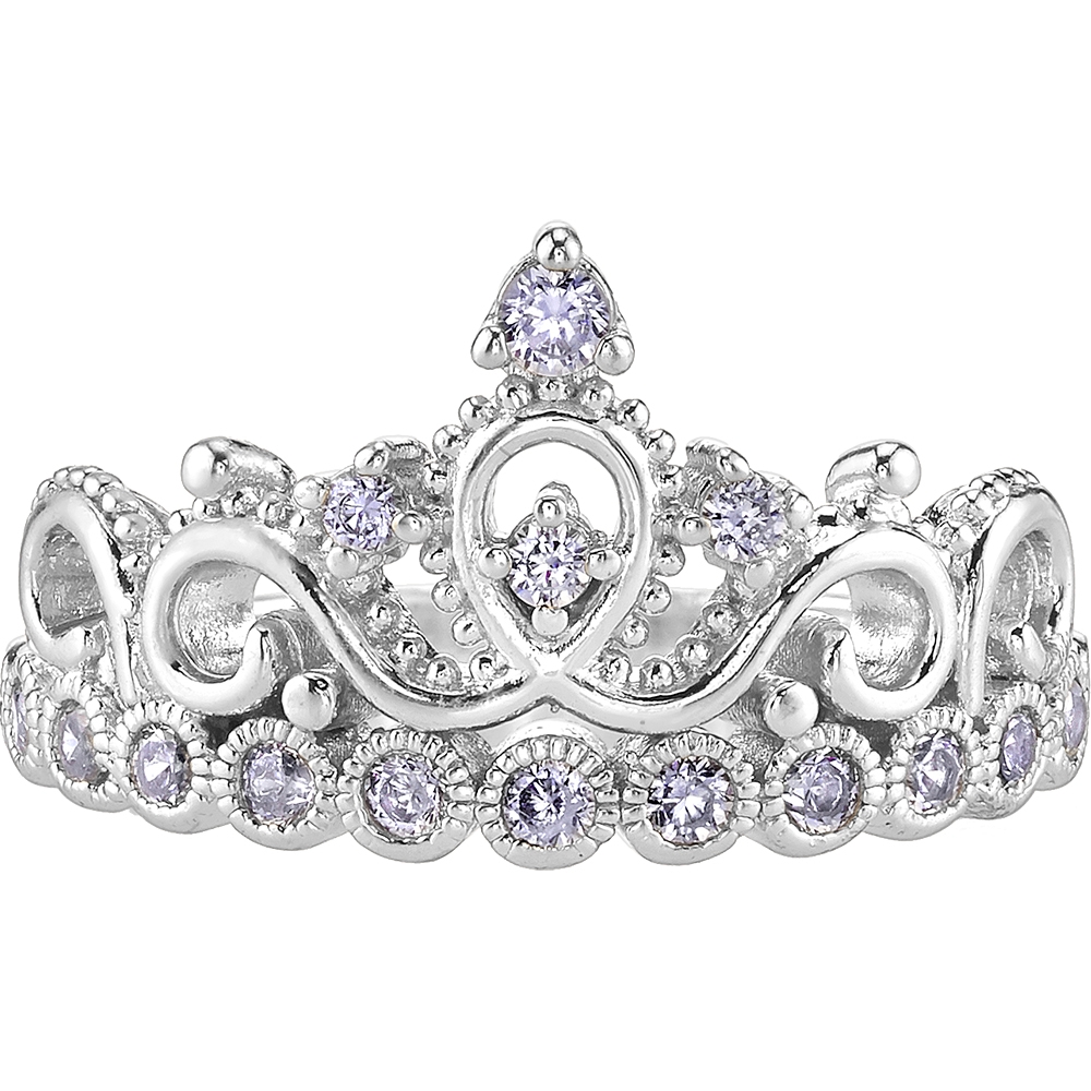 14k White Gold Princess Crown Cz Ring | Crown Rings / Princess Rings Regarding Most Recently Released Princess Tiara Crown Rings (View 4 of 25)