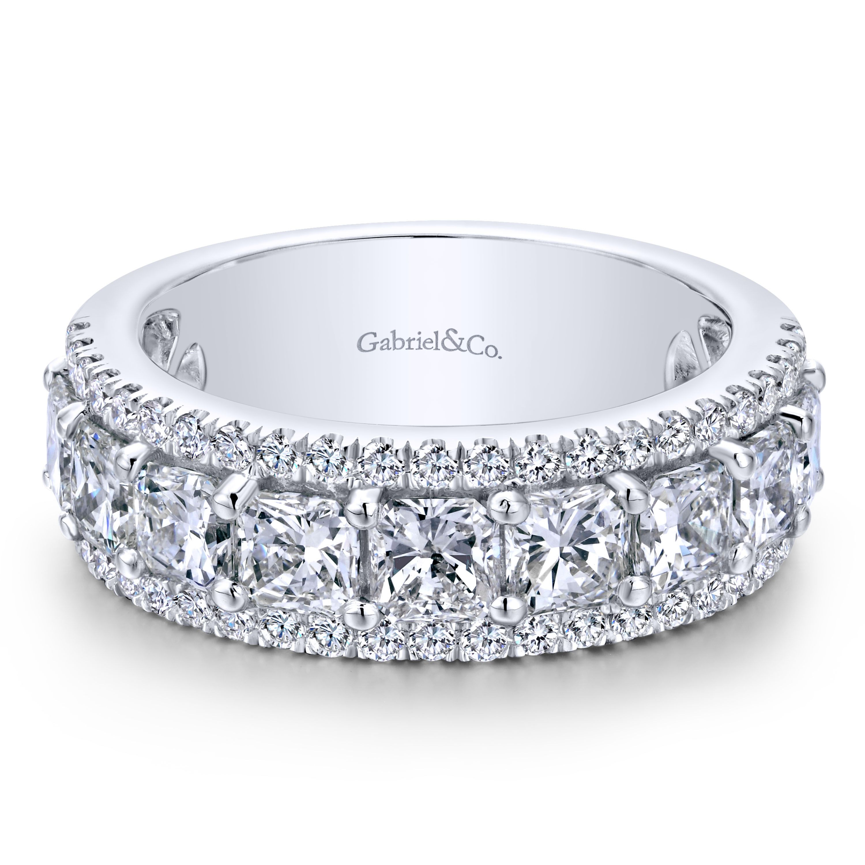 14K White Gold Princess Cut Fancy – An12427W44Jj Inside Best And Newest Diamond Slant Anniversary Bands In White Gold (View 1 of 25)
