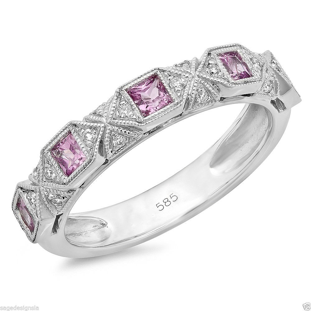 14k White Gold Princess Cut Pink Sapphire Diamond Anniversary Band Wedding Ring For Most Recently Released Princess Cut Diamond Anniversary Bands In White Gold (View 17 of 25)
