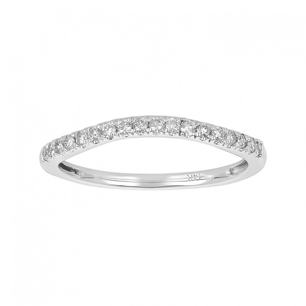14K White Gold Prong Set Contour Wedding Band Regarding Most Popular Diamond Contour Anniversary Bands In White Gold (View 4 of 25)