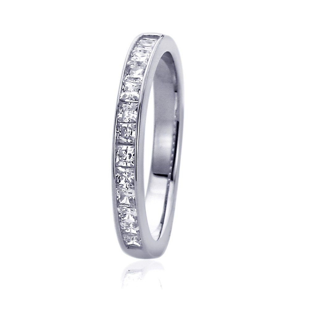 14K White Gold Rhodium Plated, Wedding Ring Princess Cut Cz Channel Setting  Band Anniversary Ring Throughout Most Recent Diamond Accent Channel Anniversary Bands In White Gold (View 7 of 25)