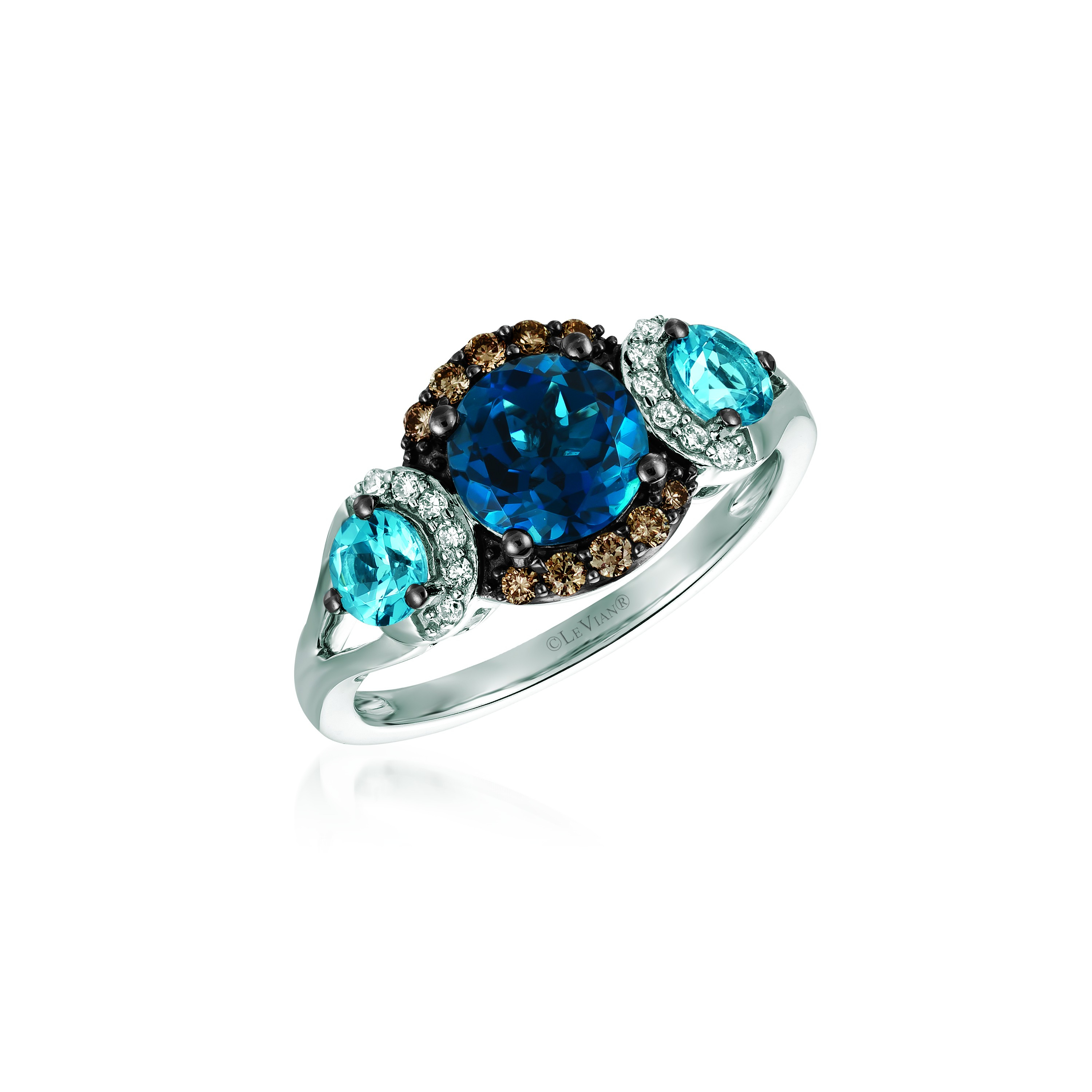 14k White Gold Ring With Ocean Blue Topaz 0.57 Cts (View 18 of 25)