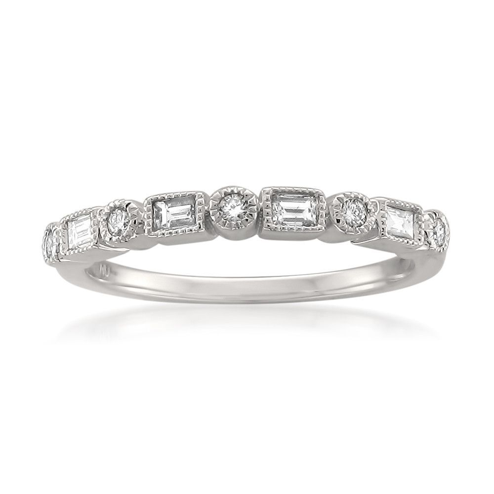 14K White Gold Round & Baguette Diamond Bridal Wedding Band With Most Recently Released Baguette And Round Diamond Alternating Anniversary Bands In White Gold (View 4 of 25)