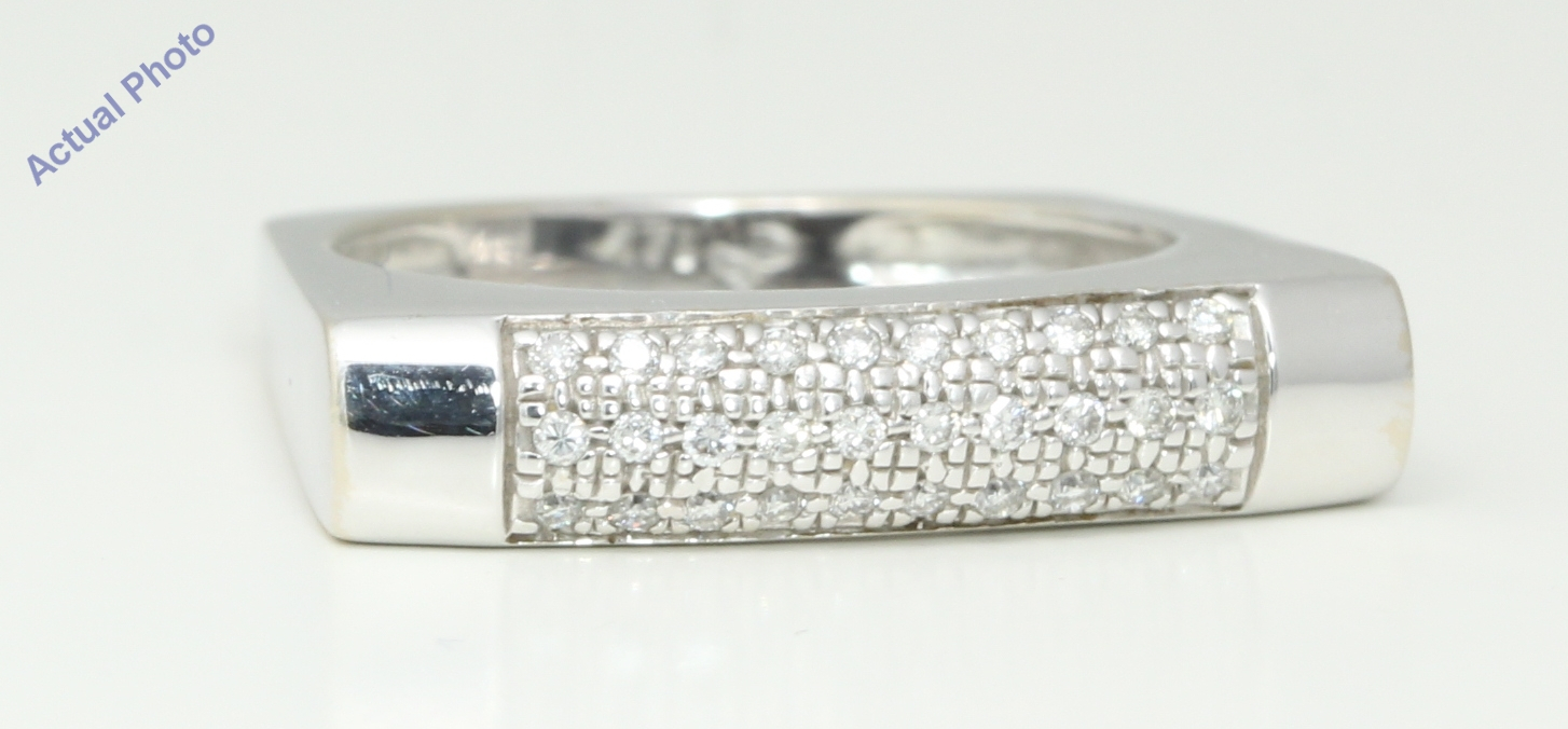 14K White Gold Round Modern Contemporary Square Shaped Domed Eternity  Diamond Wedding Band ( (View 6 of 25)
