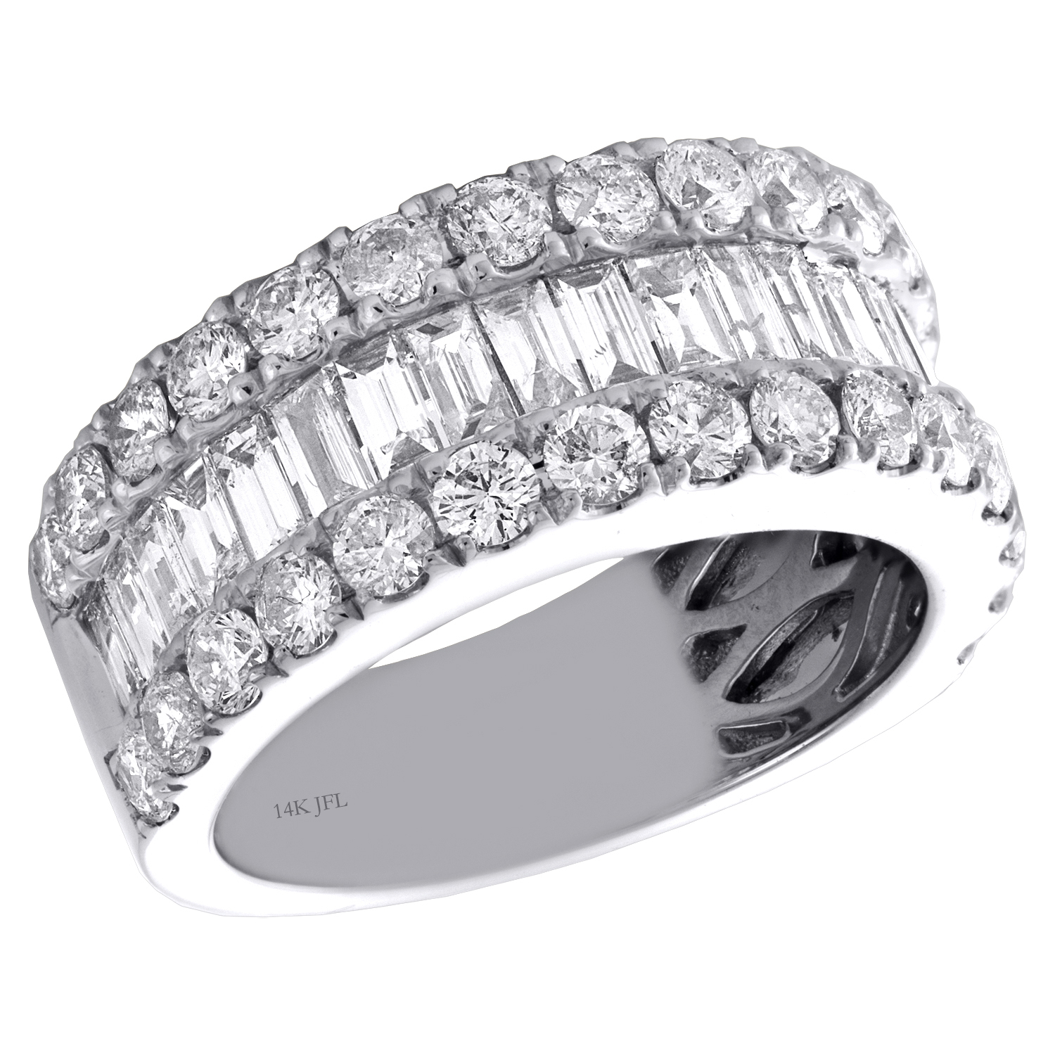 14K White Gold Tapered Baguette & Round Diamond 3 Row With Regard To Latest Baguette And Round Diamond Alternating Bar Anniversary Bands In White Gold (View 4 of 25)