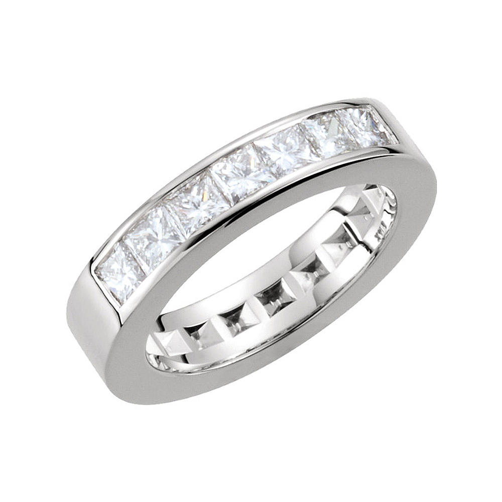14K White Gold White Diamond Seven Stone Channel Anniversary Band Inside Best And Newest Diamond Seven Stone Anniversary Bands In White Gold (View 6 of 25)
