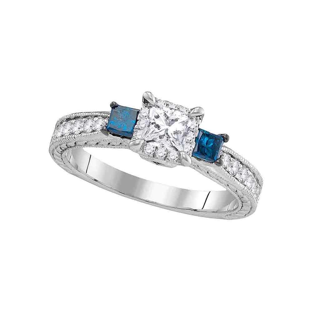 14k White Gold Womens 3 Stone Blue Color Enhanced Diamond Wedding Bridal Engagement Ring (View 7 of 25)