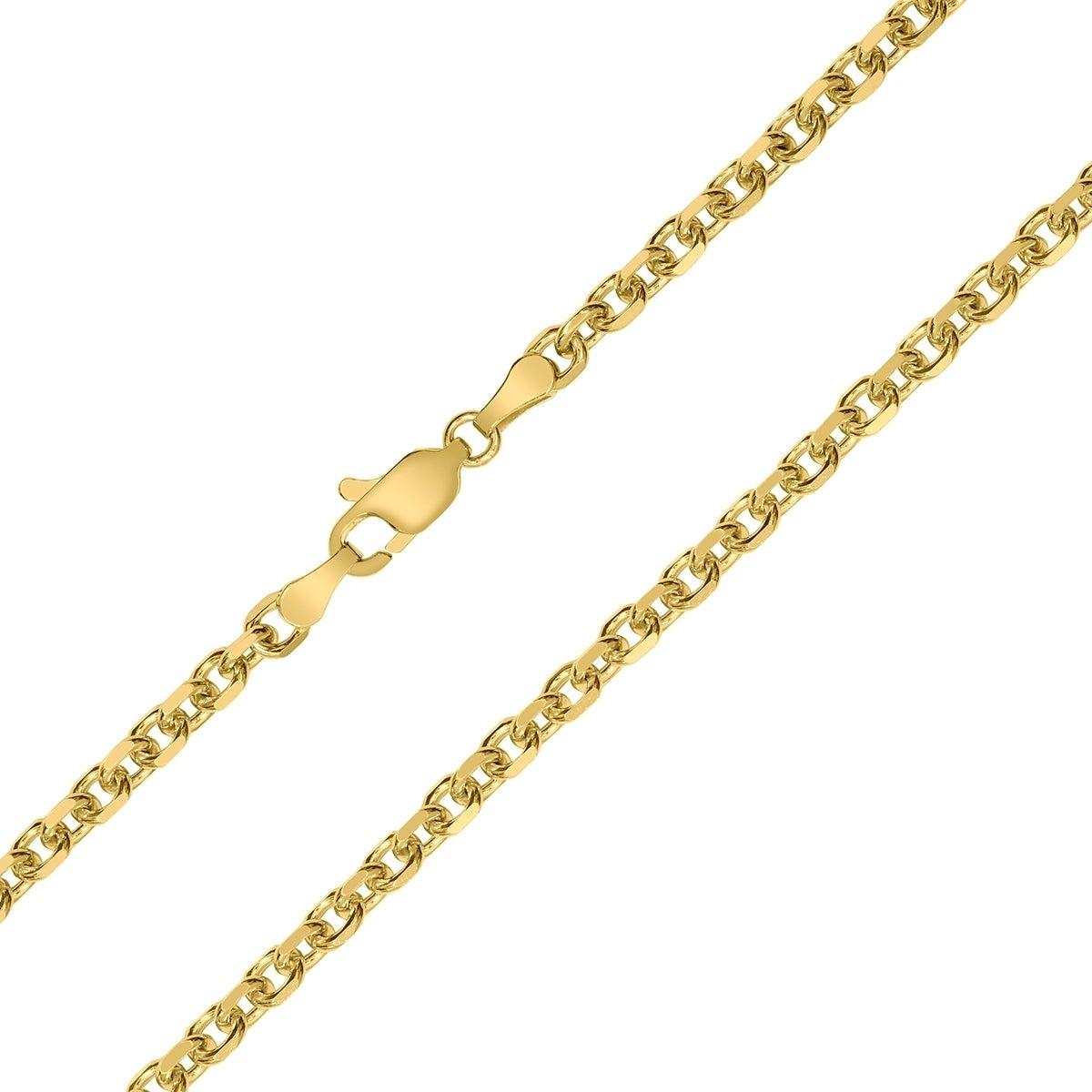 14K Yellow Gold 4Mm Diamond Cut Classic Oval Cable Chain With Lobster Clasp  – 20 Inch Inside Newest Classic Cable Chain Necklaces (View 3 of 25)