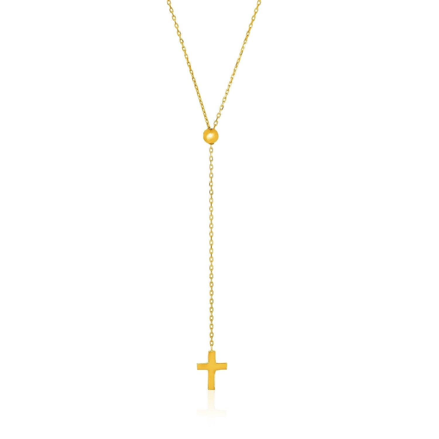 14K Yellow Gold Adjustable Cable Chain Necklace With Cross With Most Recent Long Link Cable Chain Necklaces (View 3 of 25)