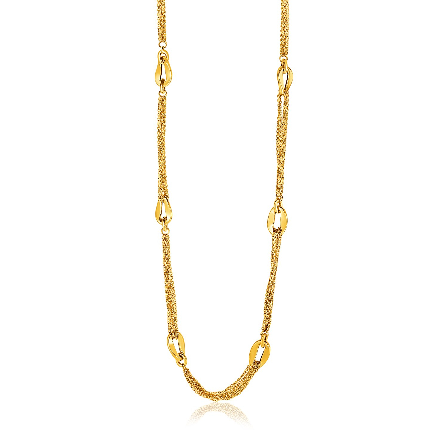 14K Yellow Gold Curved Oval Link And Multi Strand Cable Chain Within Most Popular Long Link Cable Chain Necklaces (View 4 of 25)