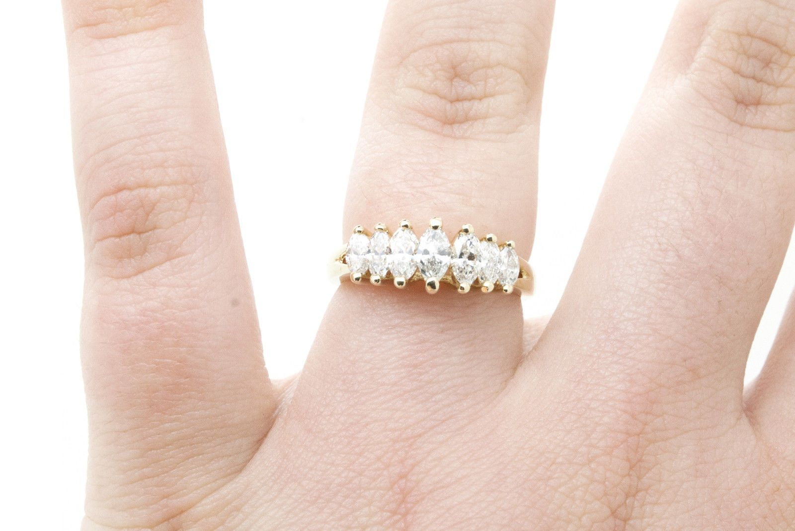 """14K Yellow Gold Marquise Diamond 7 Stone Wedding Band Ring Pertaining To Recent Diamond Seven Stone """"x"""" Anniversary Bands In Sterling Silver And Rose Gold (View 3 of 25)"""