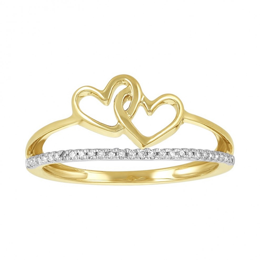 14k Yellow Gold Two Interlocking Hearts Split Band Promise Ring Intended For Most Current Band Of Hearts Rings (Gallery 7 of 25)