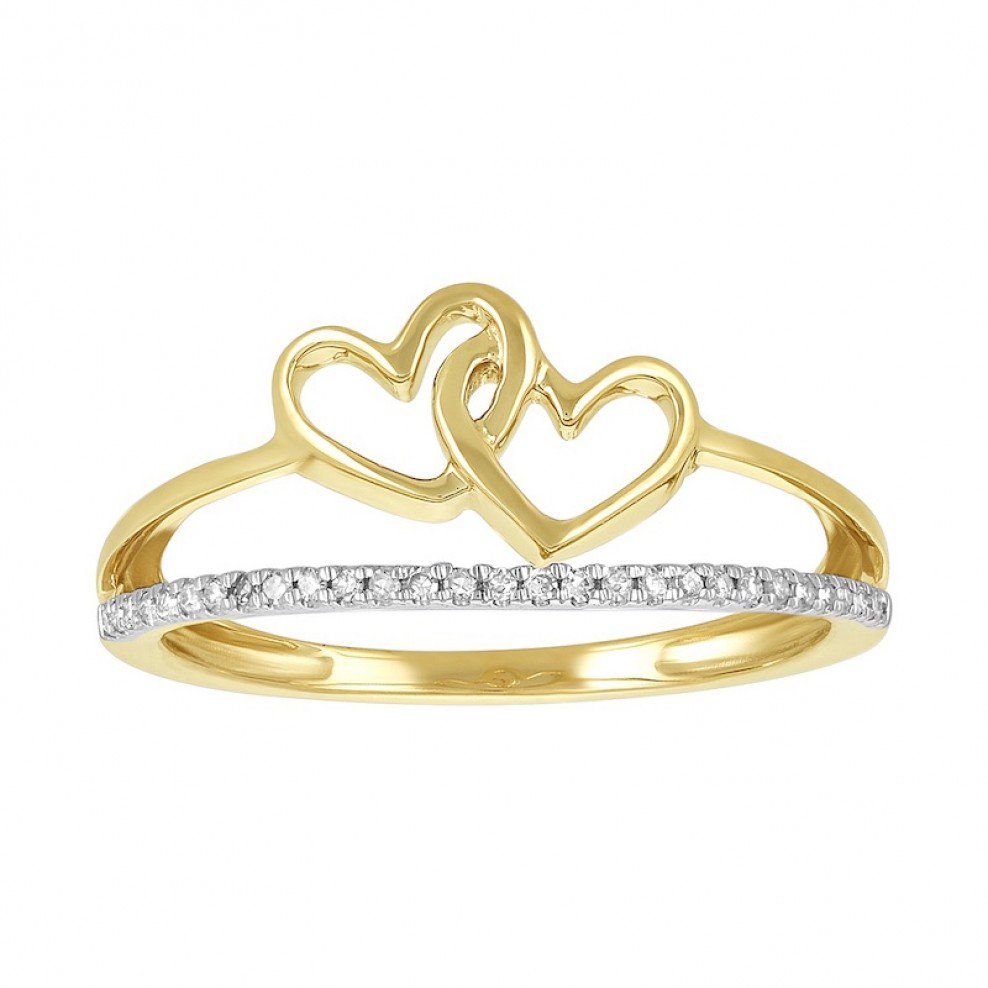 14k Yellow Gold Two Interlocking Hearts Split Band Promise Ring Regarding Most Recent Band Of Hearts Rings (View 7 of 25)