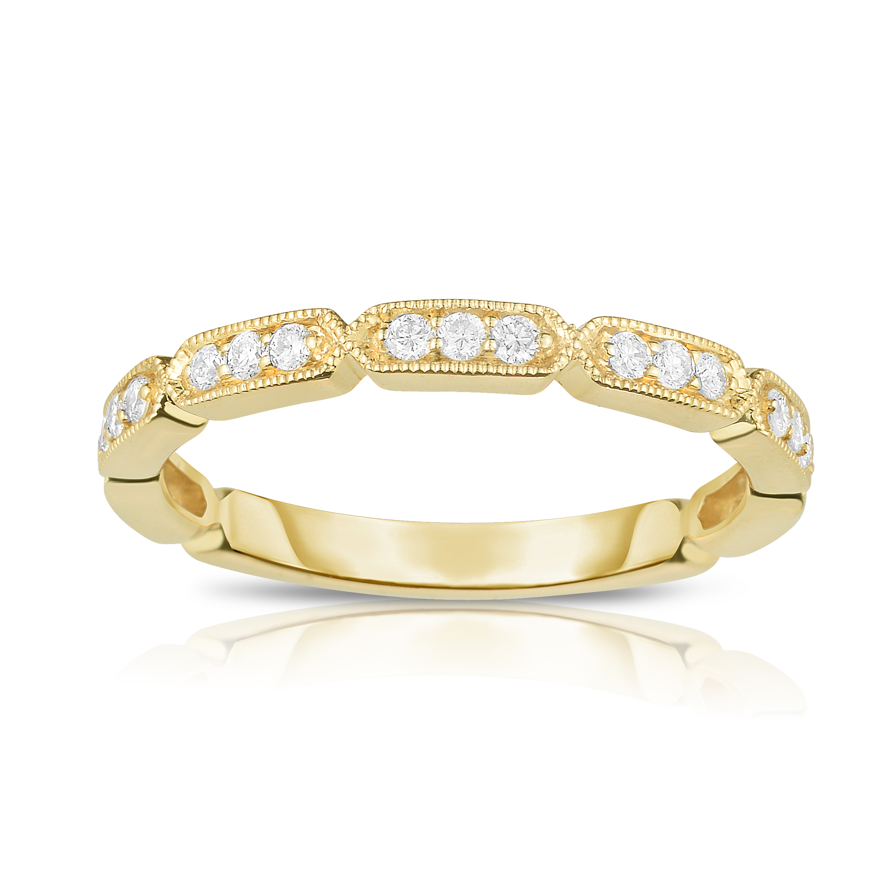 14k Yellow Gold Vintage Style Diamond Stackable Band – 118 With Most Up To Date Round And Baguette Diamond Vintage Style Anniversary Bands In White Gold (View 7 of 25)