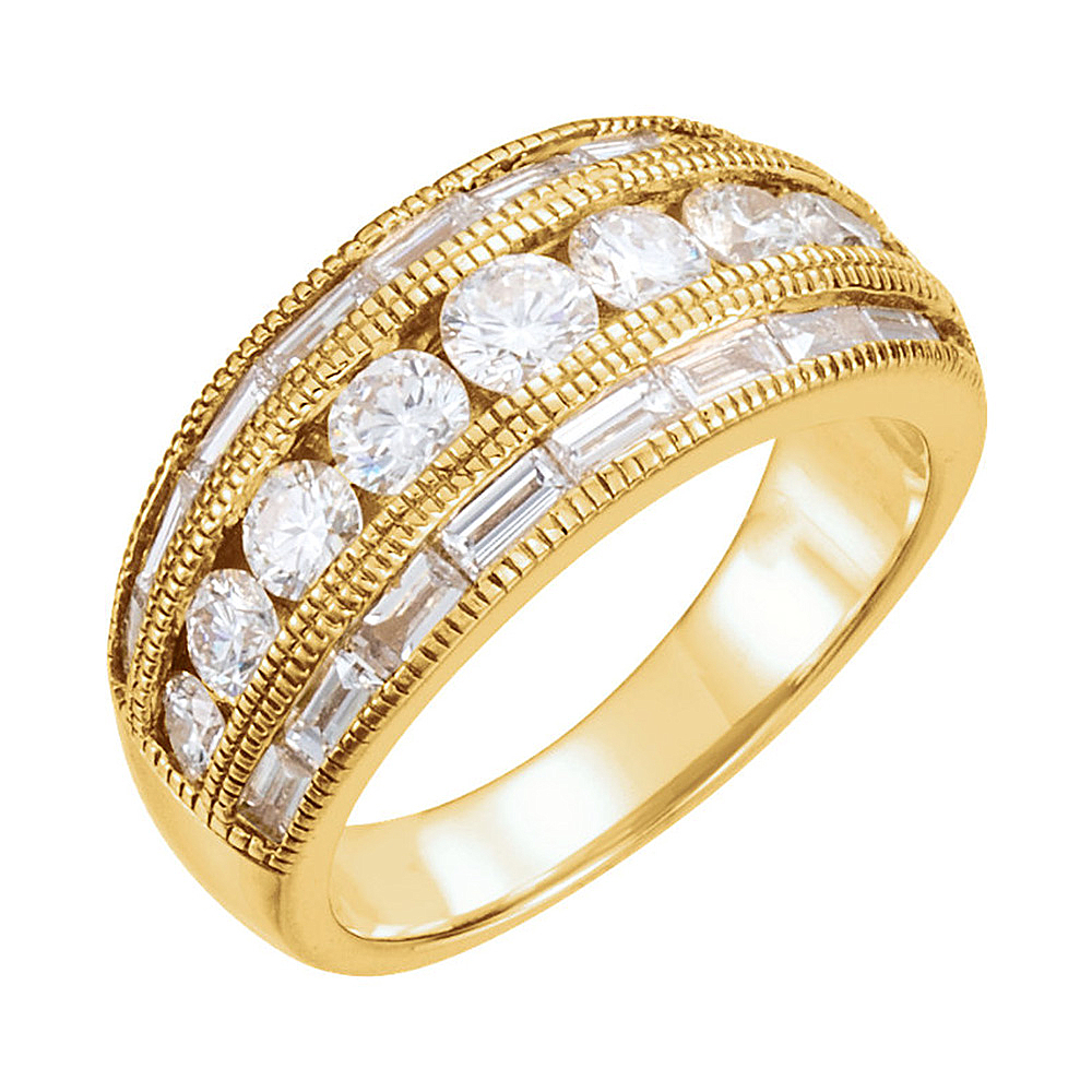 14K Yellow Gold White Diamond Channel Set Milgrain Accent Anniversary Band  – 2 Cttw (H,si2) Within Latest Diamond Accent Channel Anniversary Bands In White Gold (View 8 of 25)