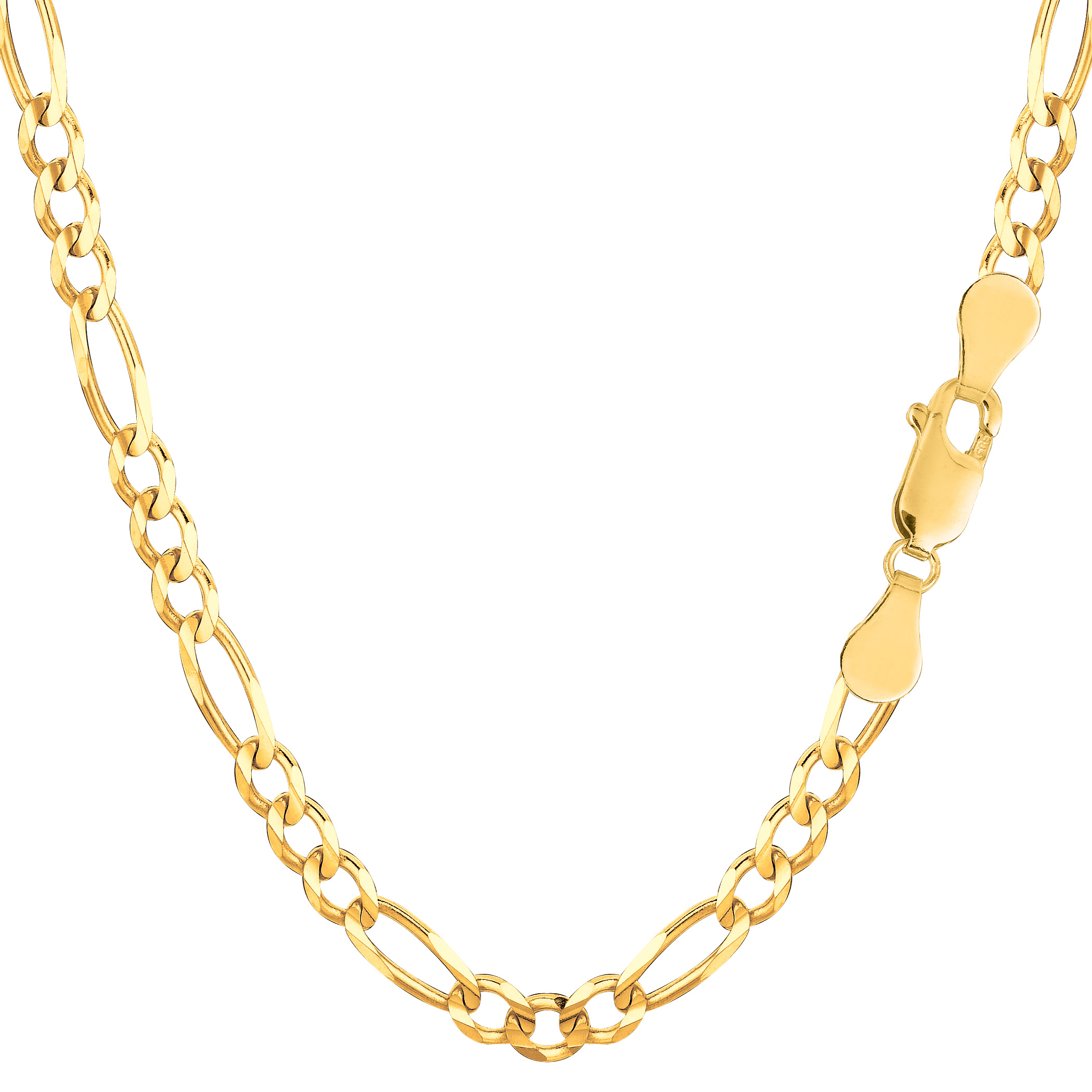 14K Yellow Solid Gold Figaro Chain Necklace,  (View 9 of 25)