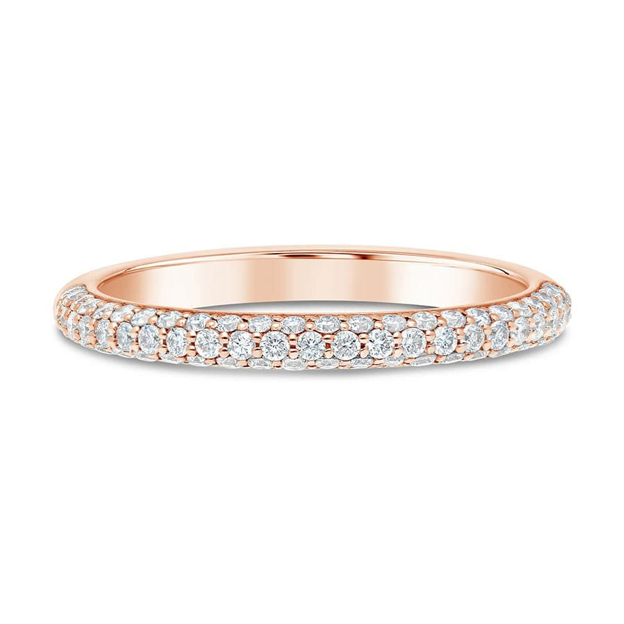 14Kt Rose Gold Three Row Pave Diamond Wedding Band – Limited For 2019 Diamond Three Row Anniversary Bands In Rose Gold (View 3 of 25)