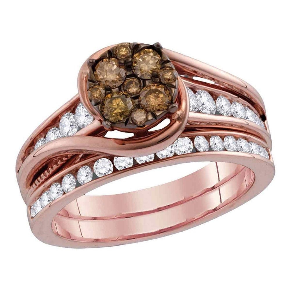 14kt Rose Gold Womens Round Cognac Brown Color Enhanced Diamond Bridal Wedding Engagement Ring Band Set 1 Cttw – Ring Size 7 Regarding Most Recent Enhanced Cognac Diamond Vintage Style Anniversary Bands In Rose Gold (View 2 of 25)