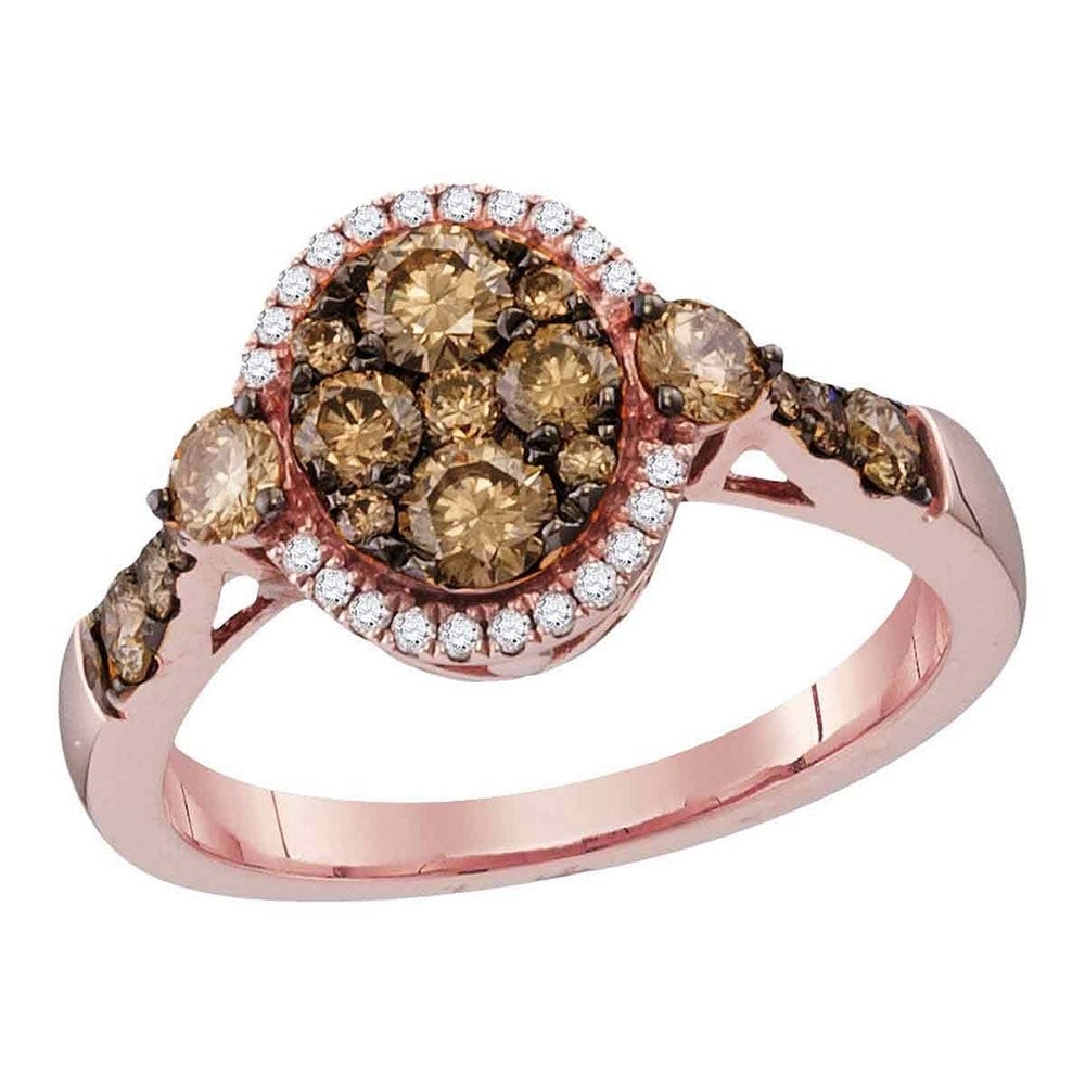 14kt Rose Gold Womens Round Cognac Brown Color Enhanced Diamond Cluster Bridal Wedding Engagement Ring (View 4 of 25)