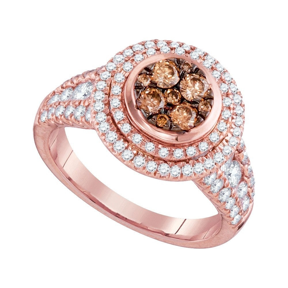 14kt Rose Gold Womens Round Cognac Brown Color Enhanced Diamond Cluster Bridal Wedding Engagement Ring 1 1/2 Cttw – Ring Size 7 With Regard To Most Current Enhanced Cognac Diamond Vintage Style Anniversary Bands In Rose Gold (View 10 of 25)