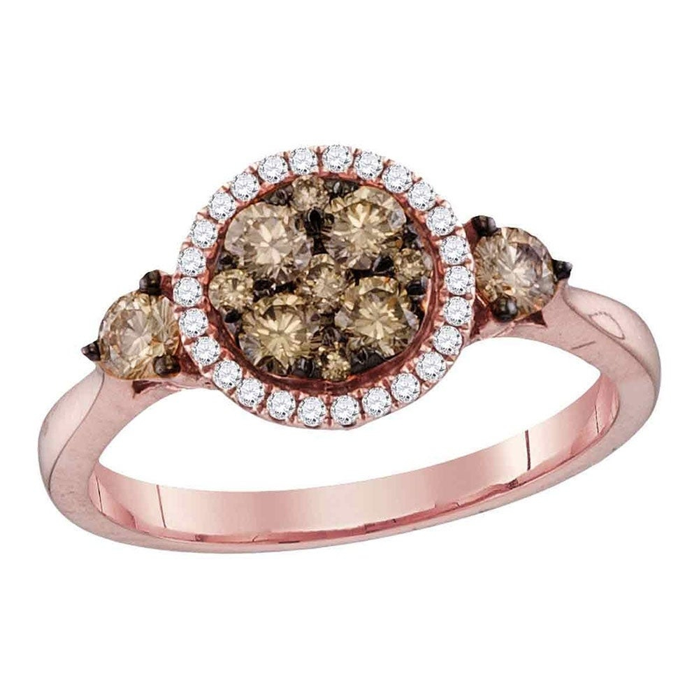 14kt Rose Gold Womens Round Cognac Brown Color Enhanced Diamond Cluster Bridal Wedding Engagement Ring 3/4 Cttw – Ring Size 7 For Latest Enhanced Cognac Diamond Vintage Style Anniversary Bands In Rose Gold (View 8 of 25)