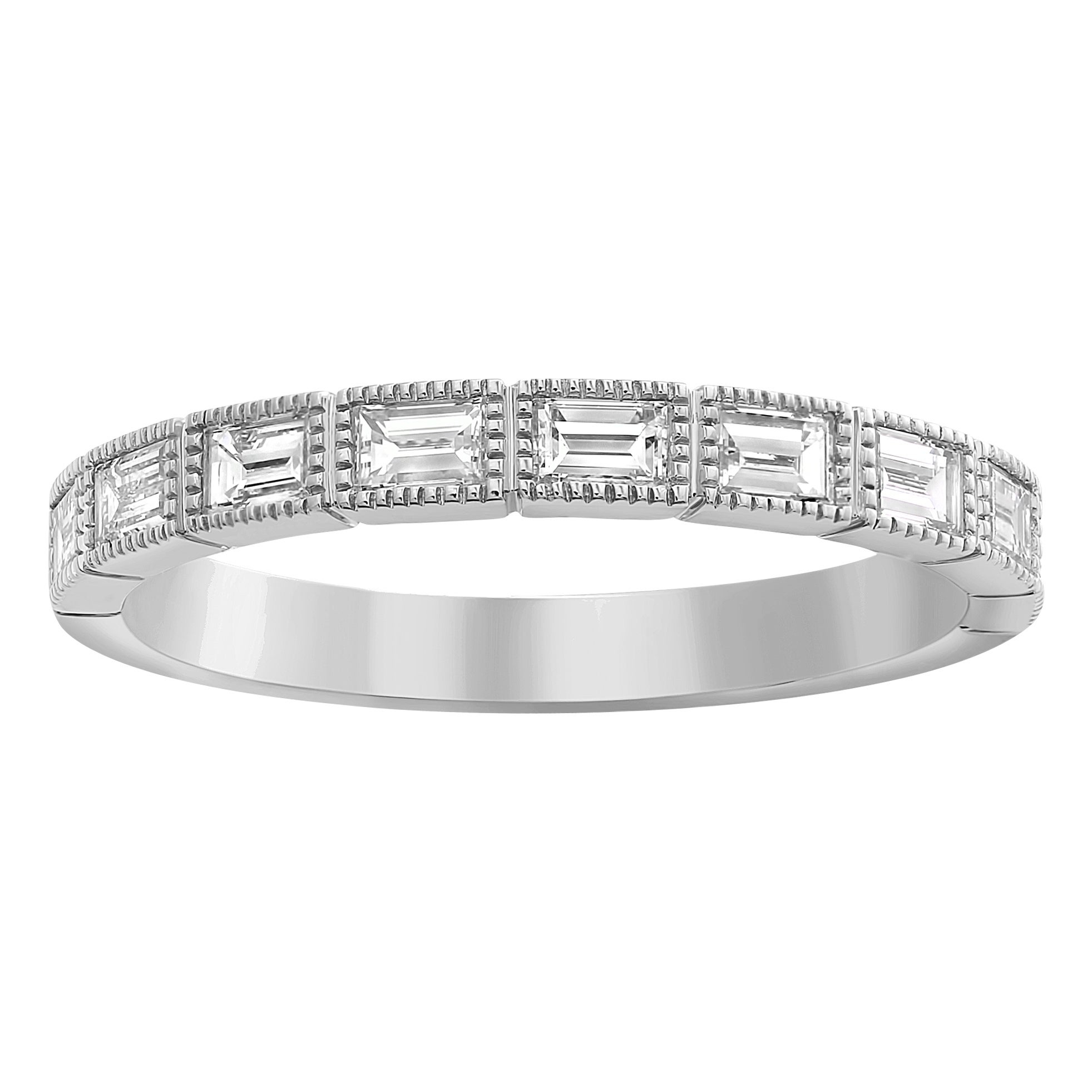 14Kt White Gold 7/10Ct Baguette Diamonds Vintage Wedding Band Ring Throughout Most Recently Released Round And Baguette Diamond Vintage Style Anniversary Bands In White Gold (View 3 of 25)