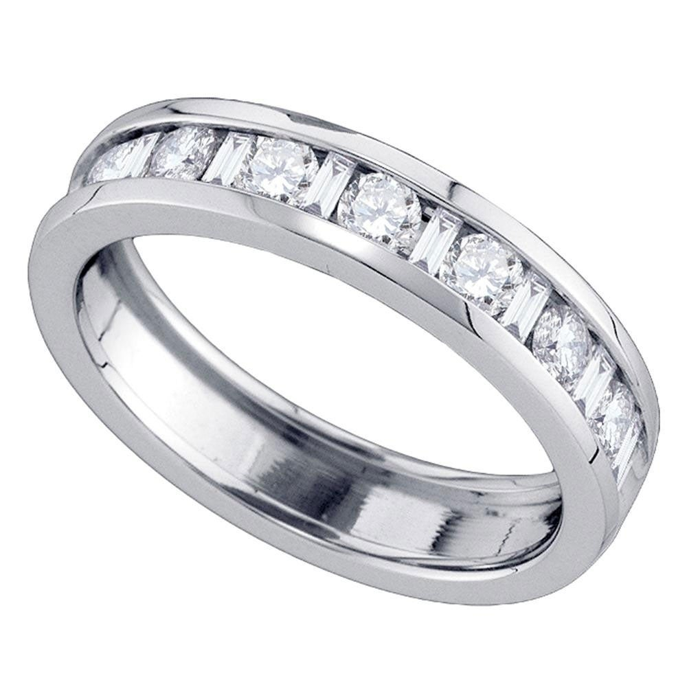 14Kt White Gold Womens Alternating Round Baguette Diamond Single Row  Wedding Band  (View 2 of 25)