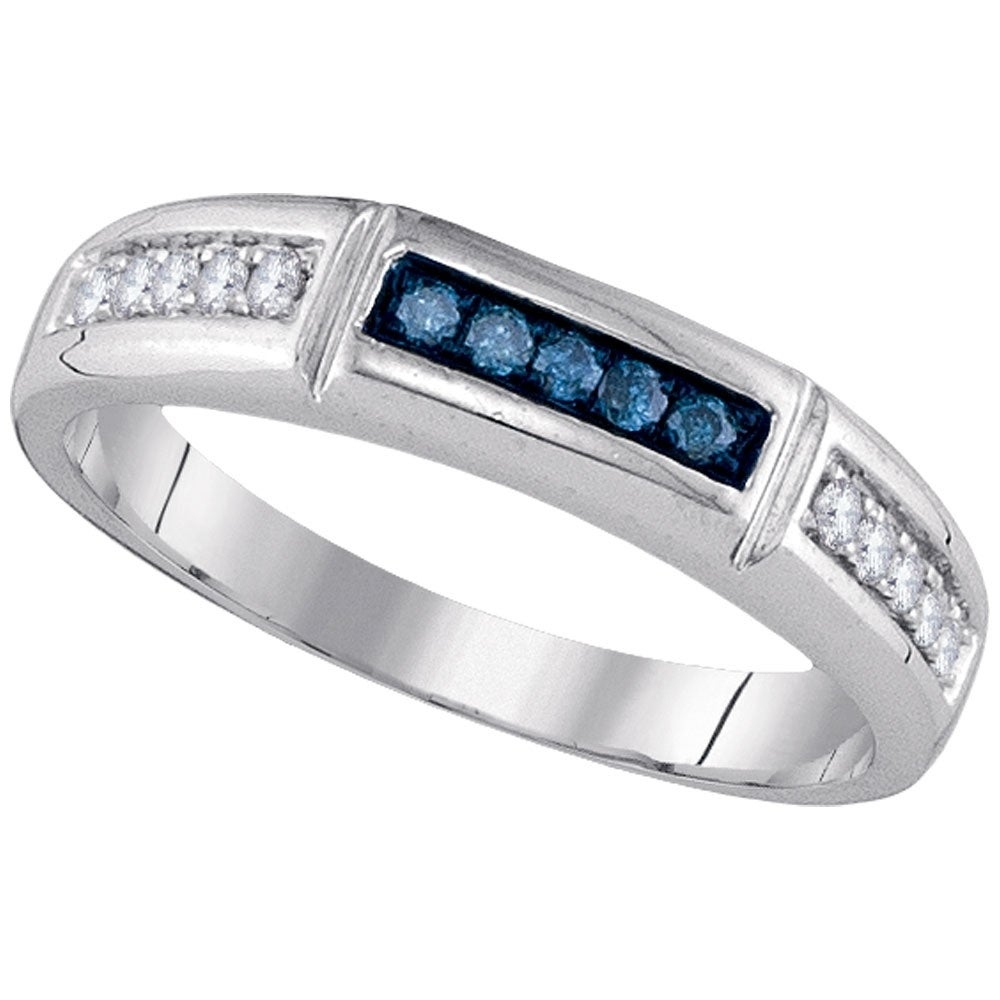 14kt White Gold Womens Round Blue Color Enhanced Diamond Band Ring 1/4 Cttw – Size 10 Within Current Enhanced Blue And White Diamond Anniversary Bands In White Gold (View 11 of 25)