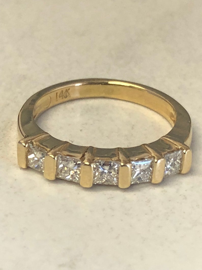 14Kt Yellow Gold Lady's Princess Cut Diamond Wedding/anniversary Band .55Ct  Total Weight At A Very Affordable Price (View 8 of 25)